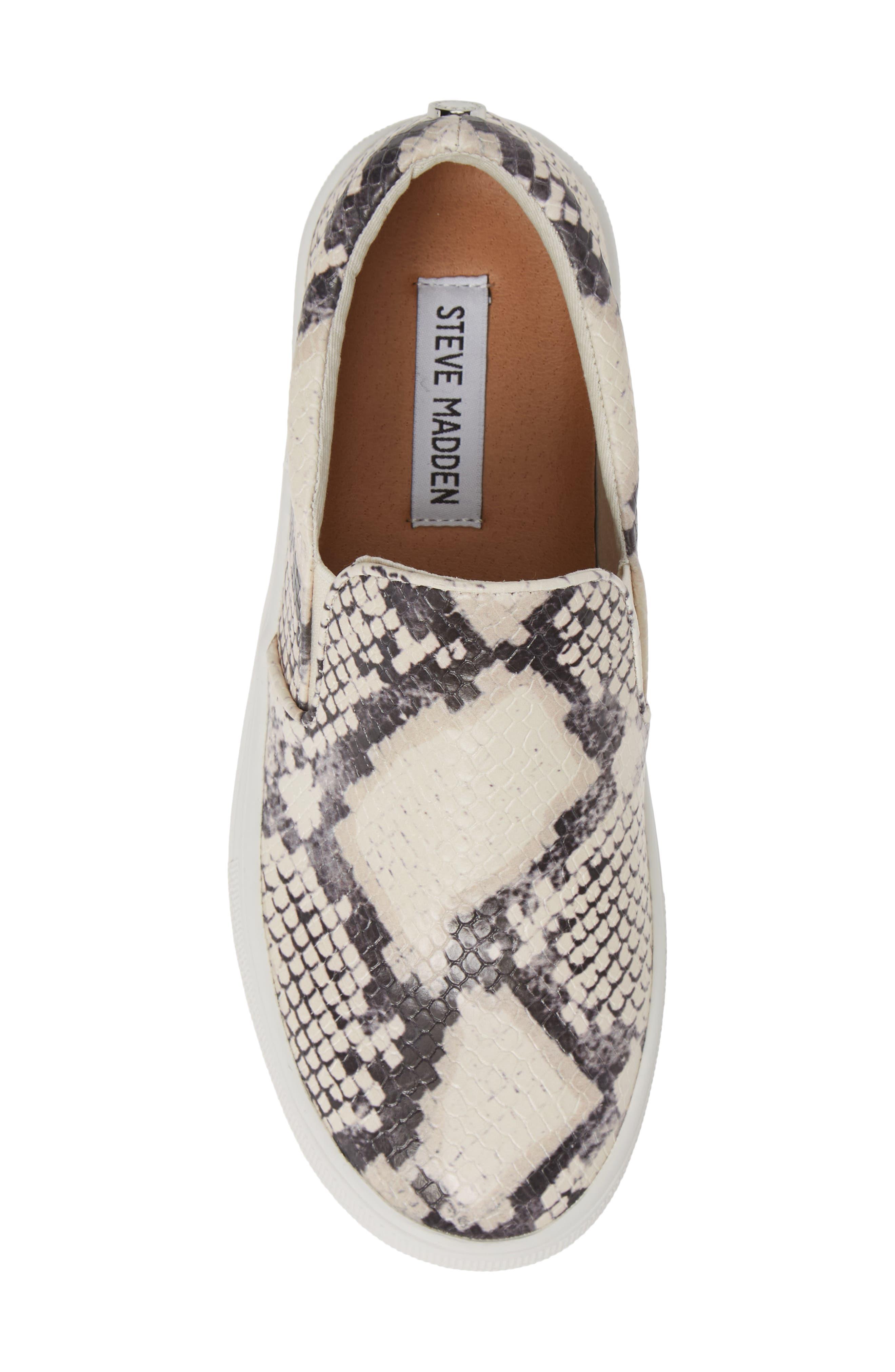 STEVE MADDEN, Gills Platform Slip-On Sneaker, Alternate thumbnail 5, color, BEIGE SNAKE PRINT