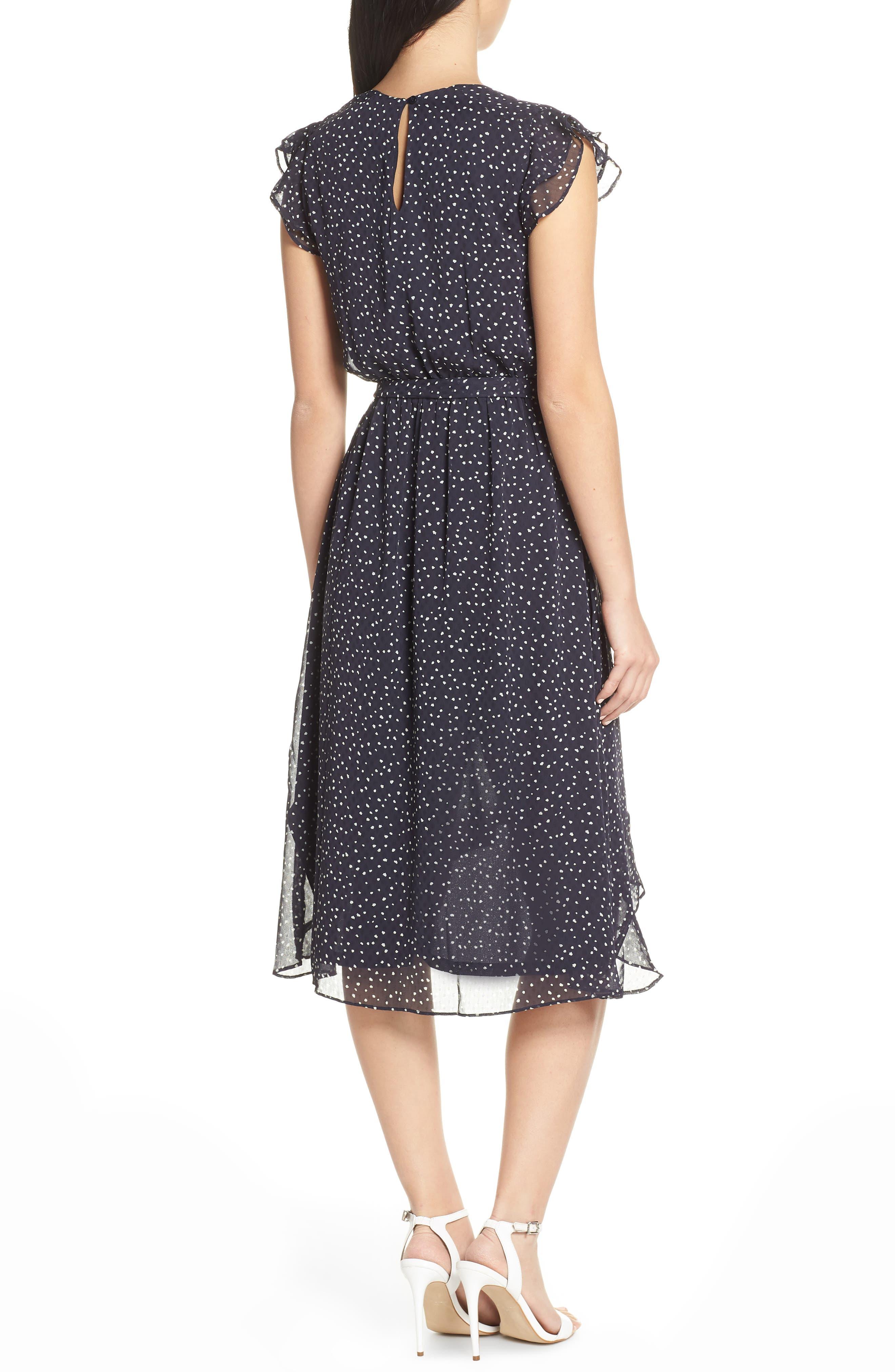 19 COOPER, Polka Dot Ruffle Sleeve Chiffon Dress, Alternate thumbnail 2, color, 400