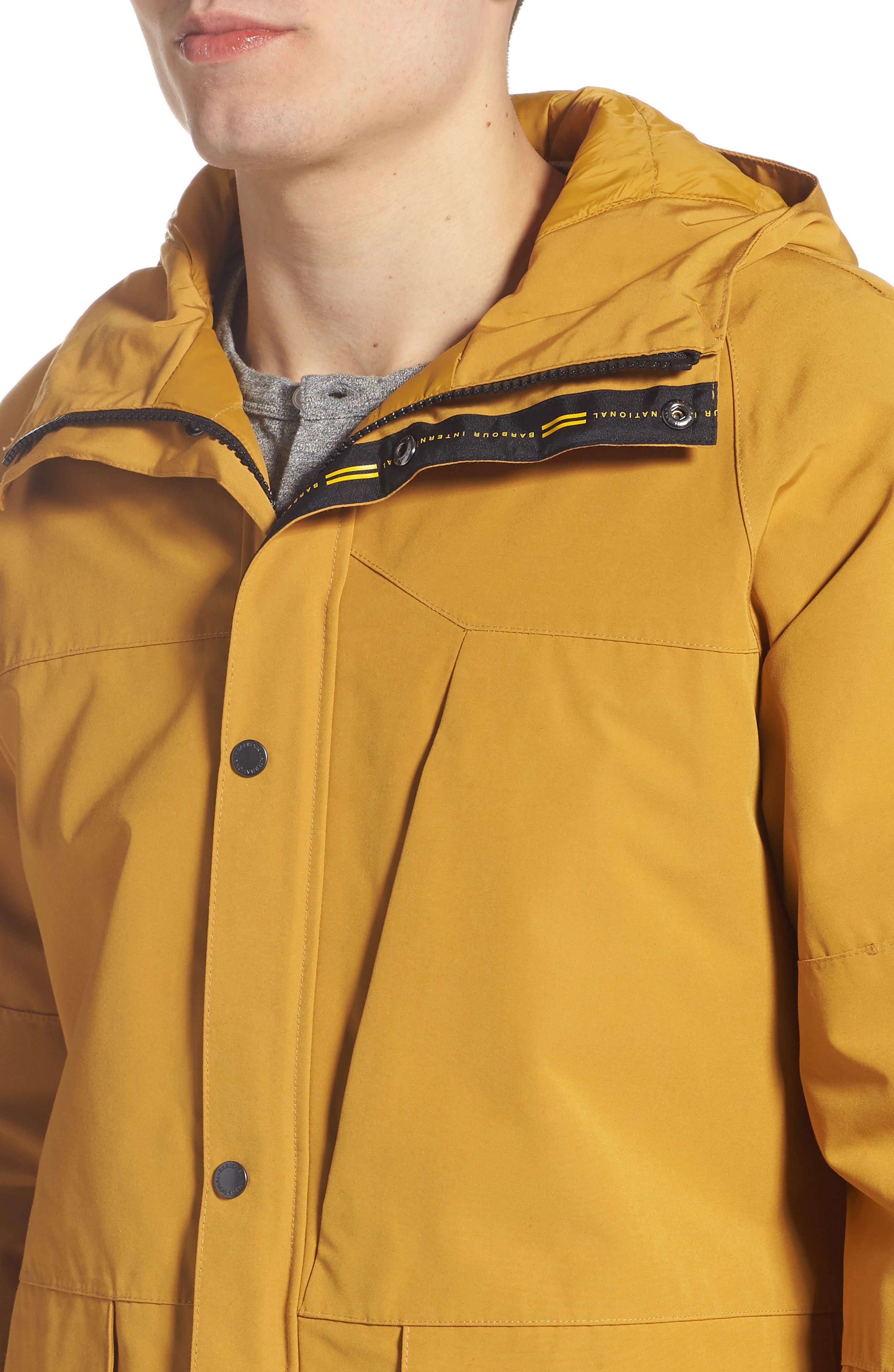 BARBOUR, Bi-Ridge Waterproof Hooded Jacket, Alternate thumbnail 4, color, YELLOW