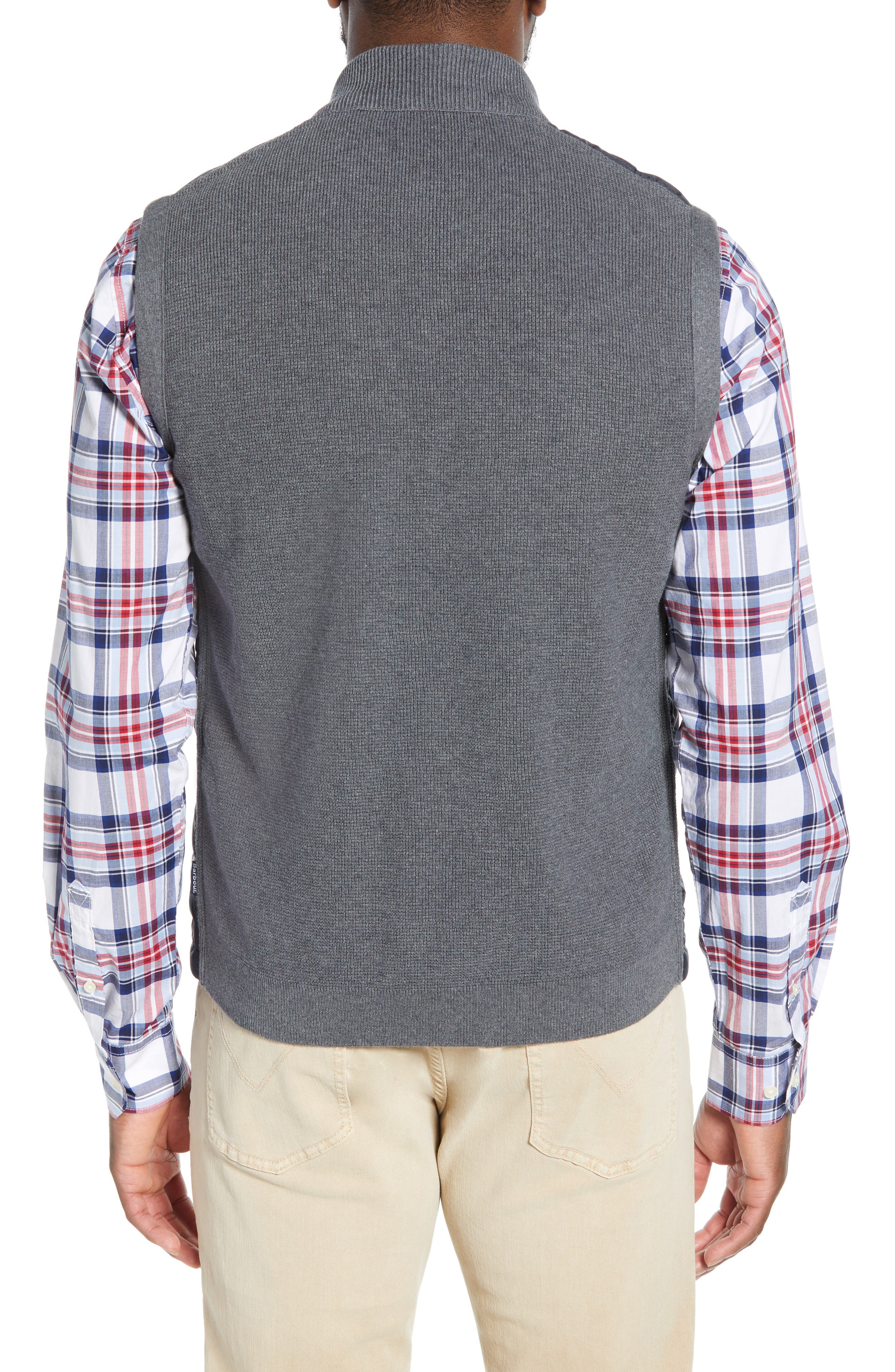 BARBOUR, 'Essential' Tailored Fit Mixed Media Vest, Alternate thumbnail 4, color, MID GREY
