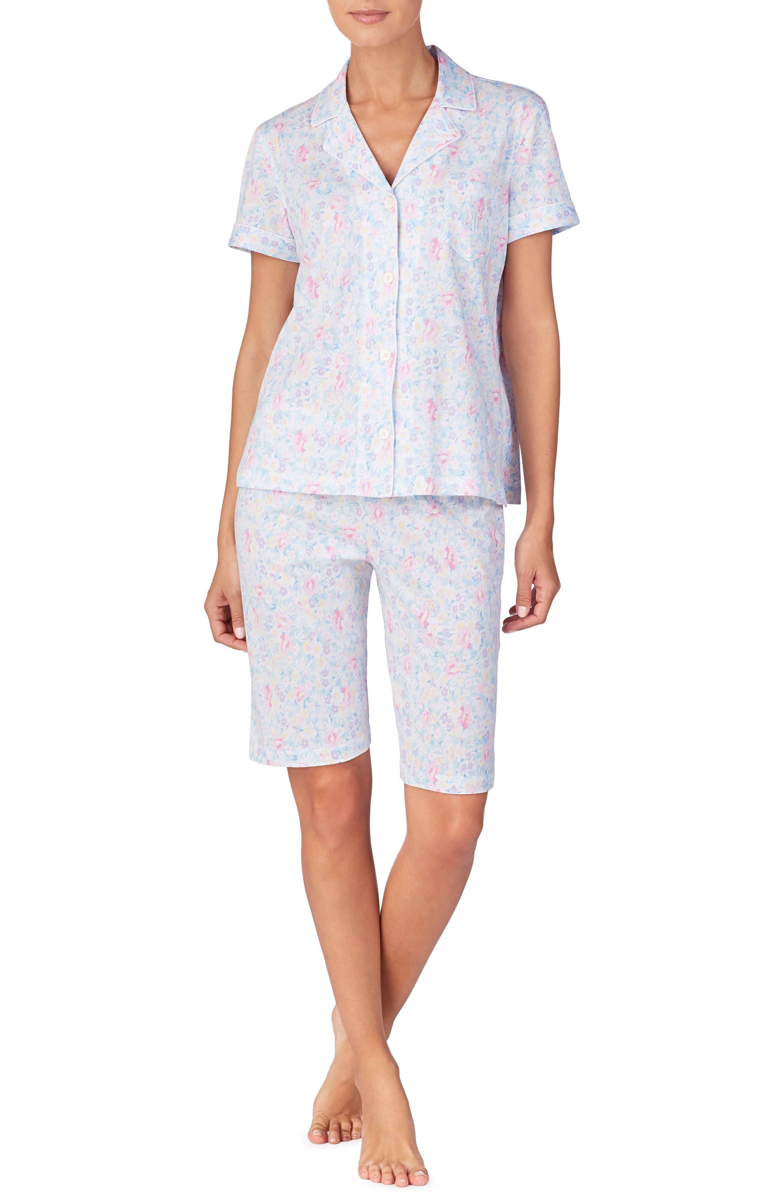 LAUREN RALPH LAUREN, Bermuda Shorts Pajamas, Main thumbnail 1, color, PINK FLORAL
