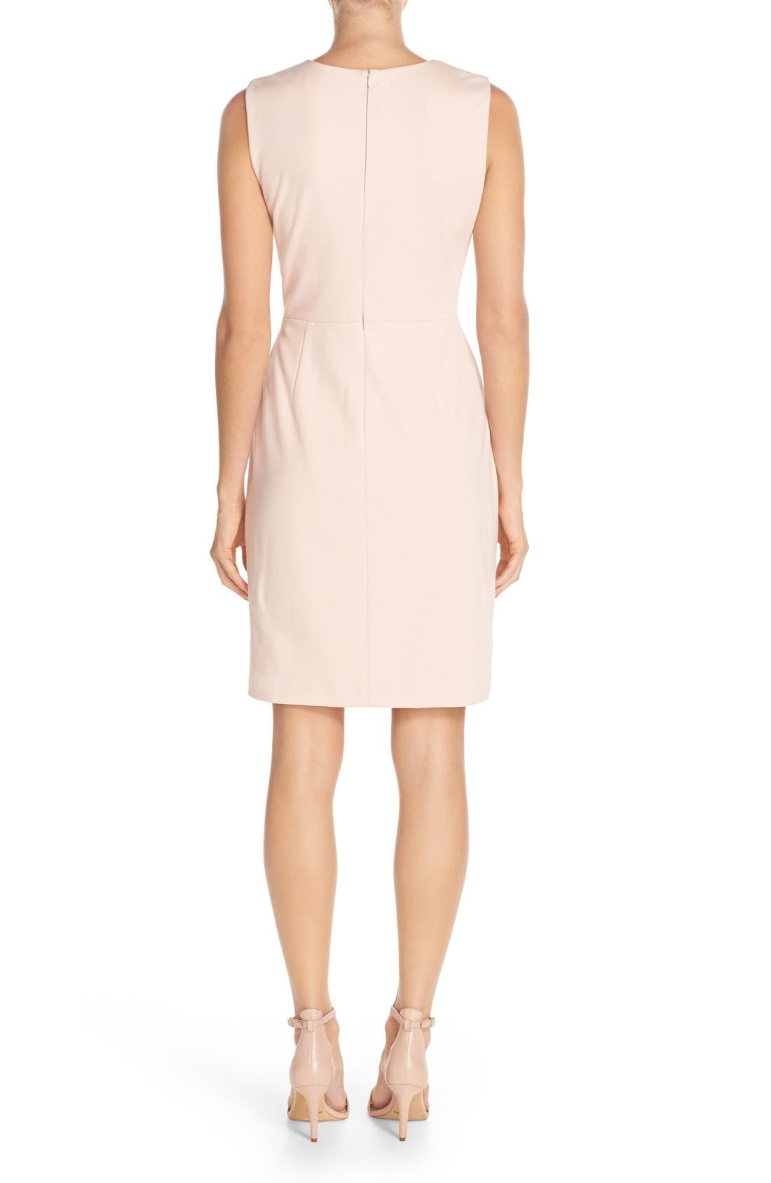 IVANKA TRUMP, Sleeveless Sheath Dress, Alternate thumbnail 3, color, 650