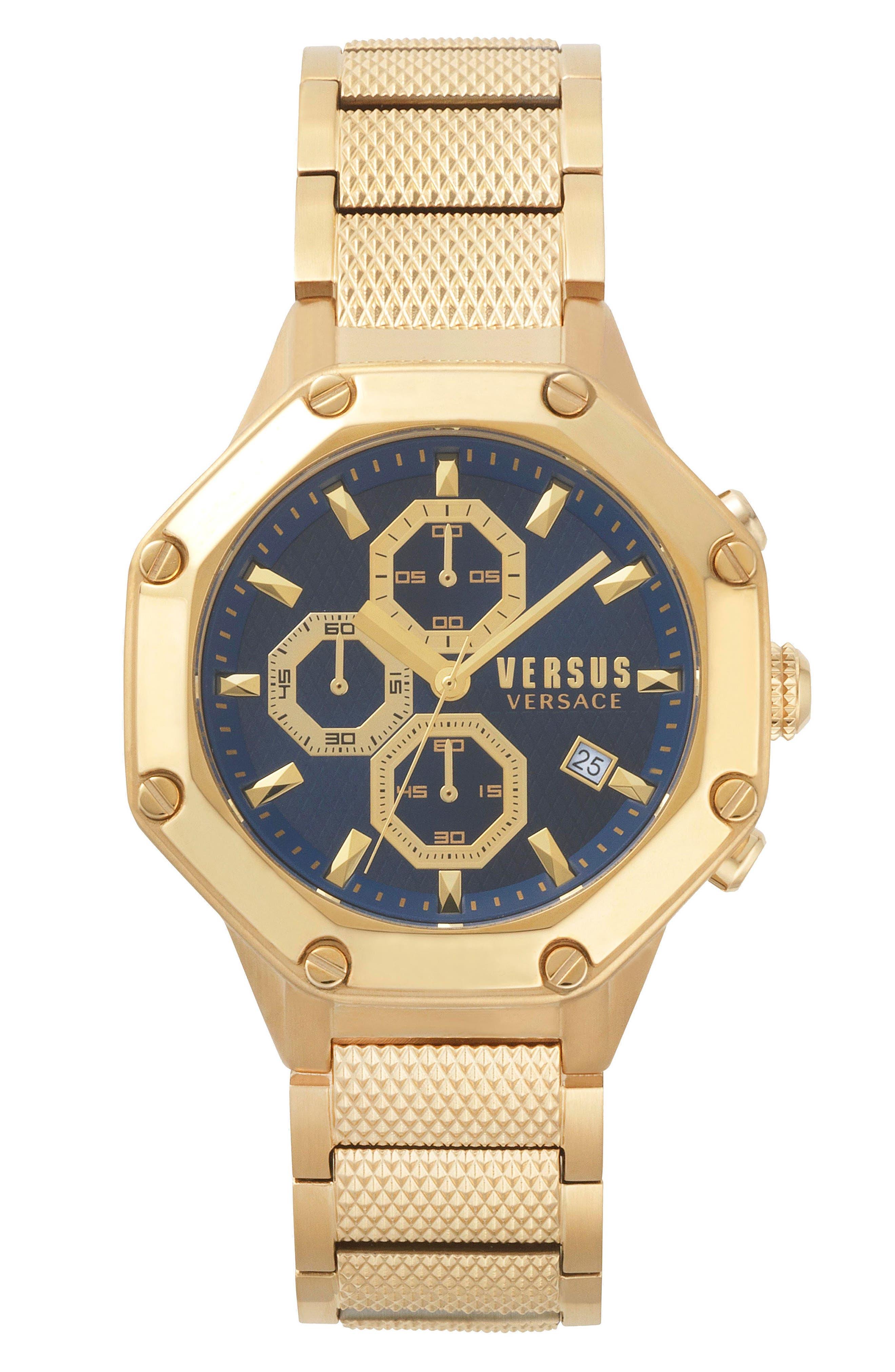 VERSUS VERSACE, Kowloon Chronograph Bracelet Watch, 45mm, Main thumbnail 1, color, GOLD/ BLUE/ GOLD