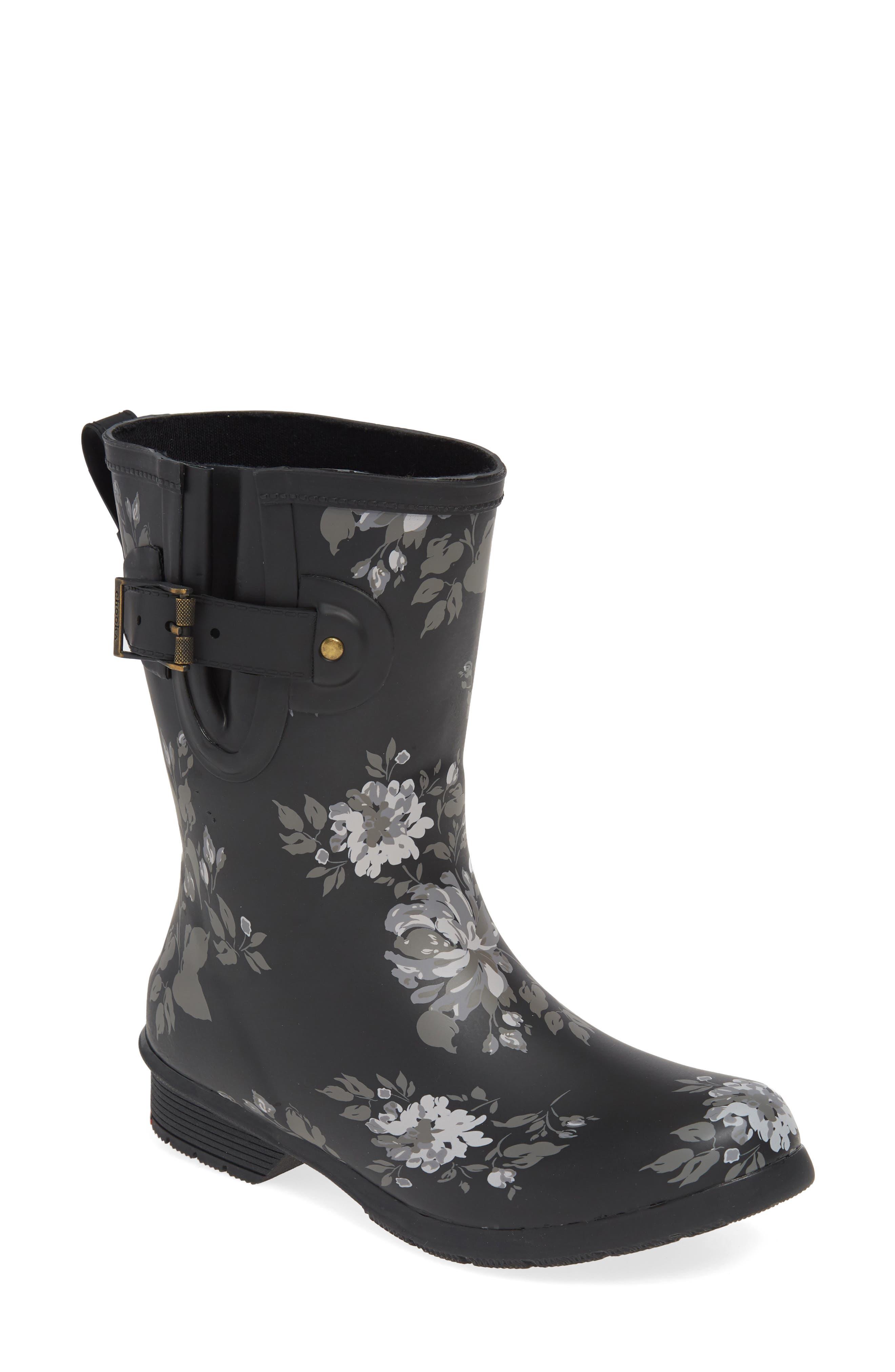 Chooka Abbie Waterproof Mid Rain Boot, Black