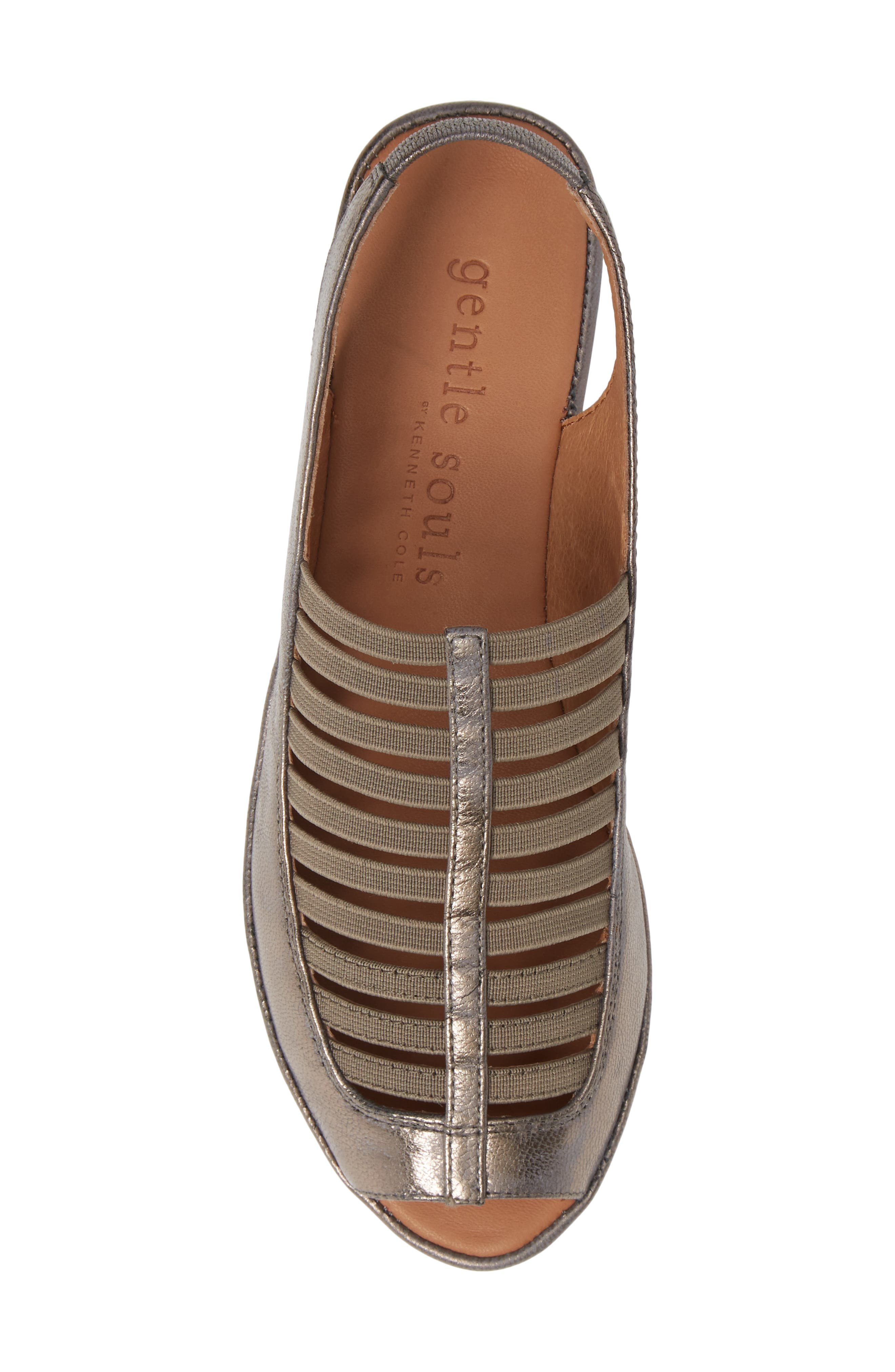 GENTLE SOULS BY KENNETH COLE, 'Lee' Sandal, Alternate thumbnail 5, color, PEWTER METALLIC LEATHER