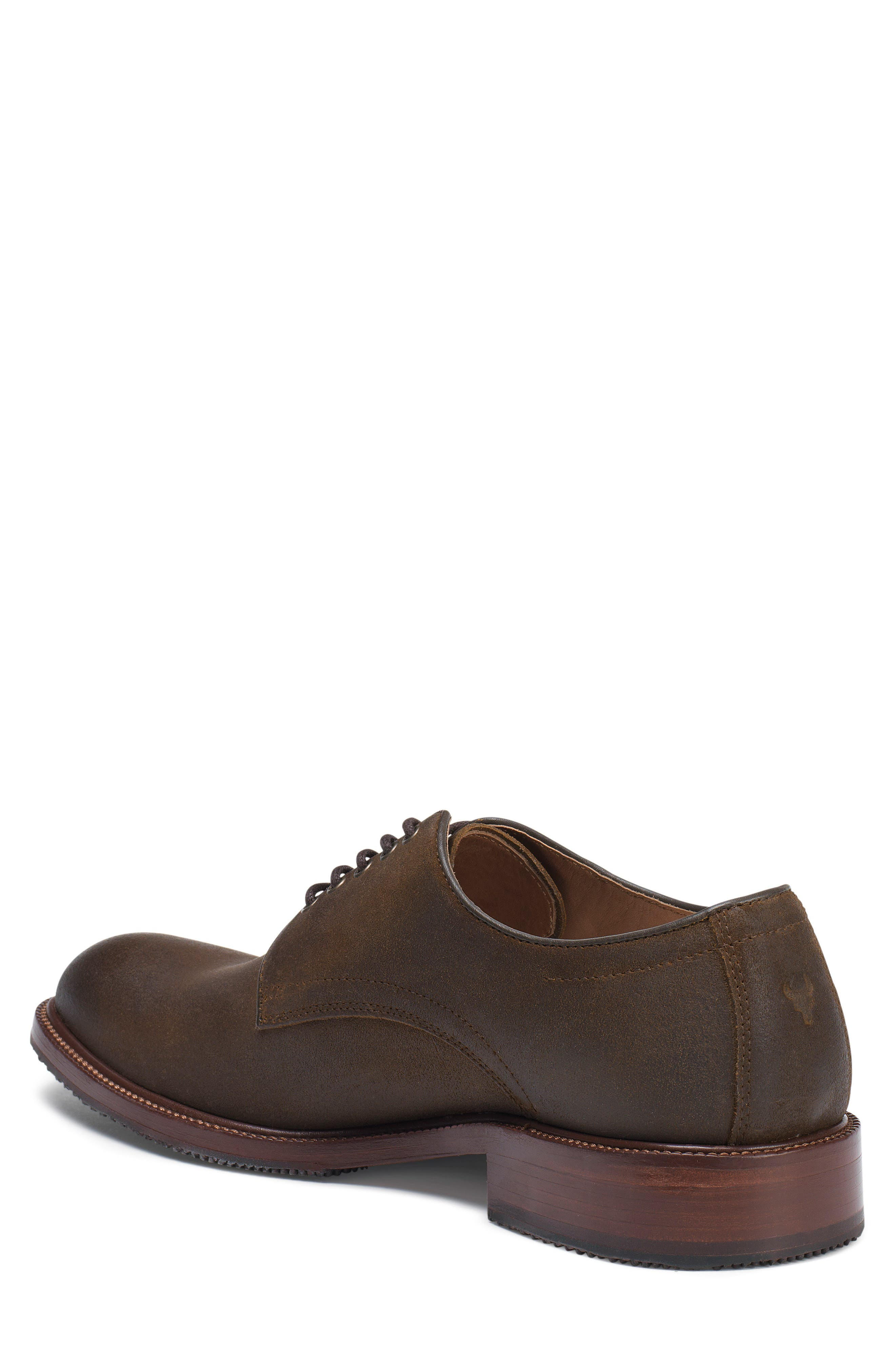 TRASK, Landry Plain Toe Derby, Alternate thumbnail 2, color, BROWN WAXED SUEDE