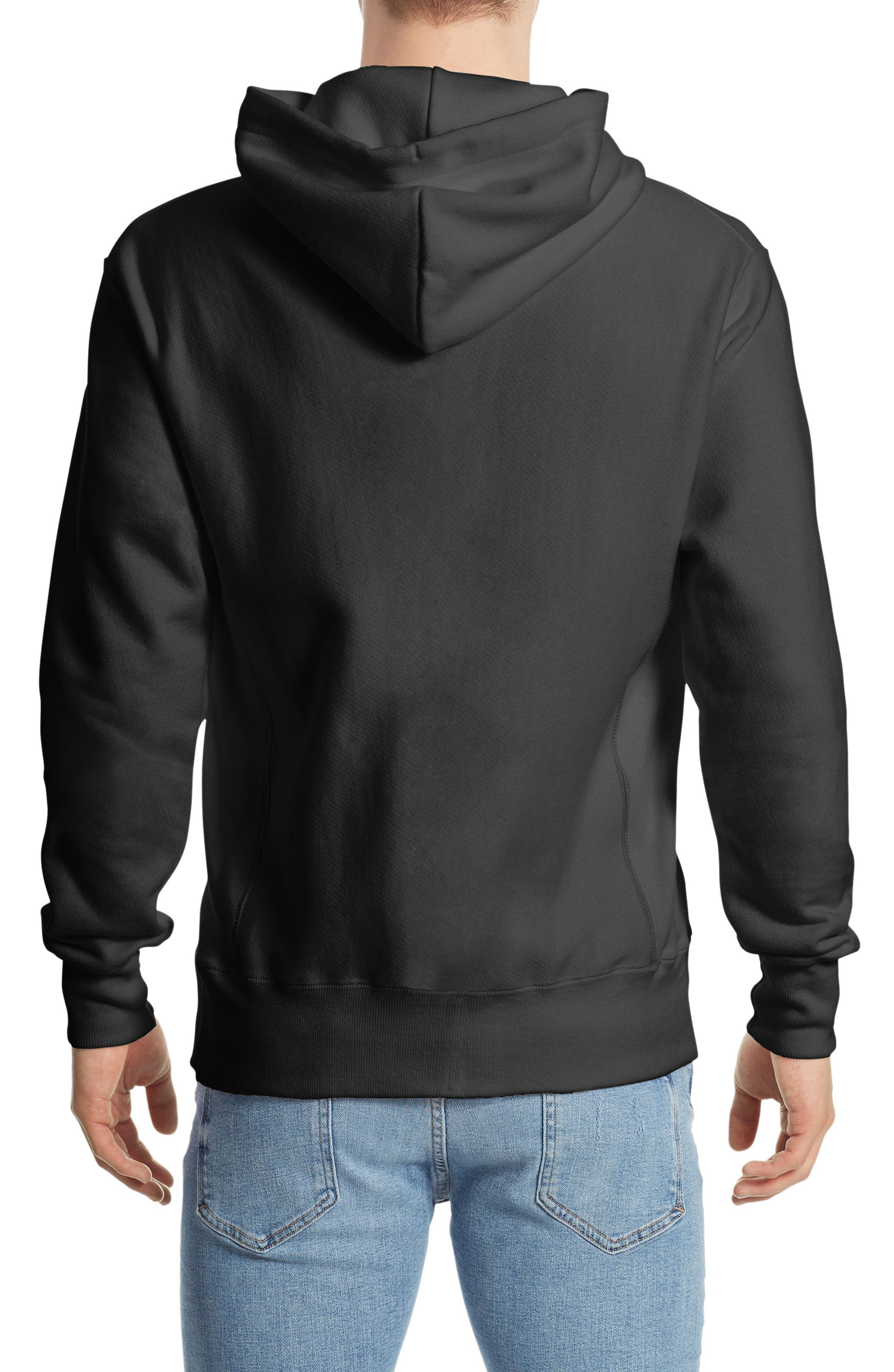 CHAMPION, Reverse Weave<sup>®</sup> Pullover Hoodie, Alternate thumbnail 2, color, BLACK