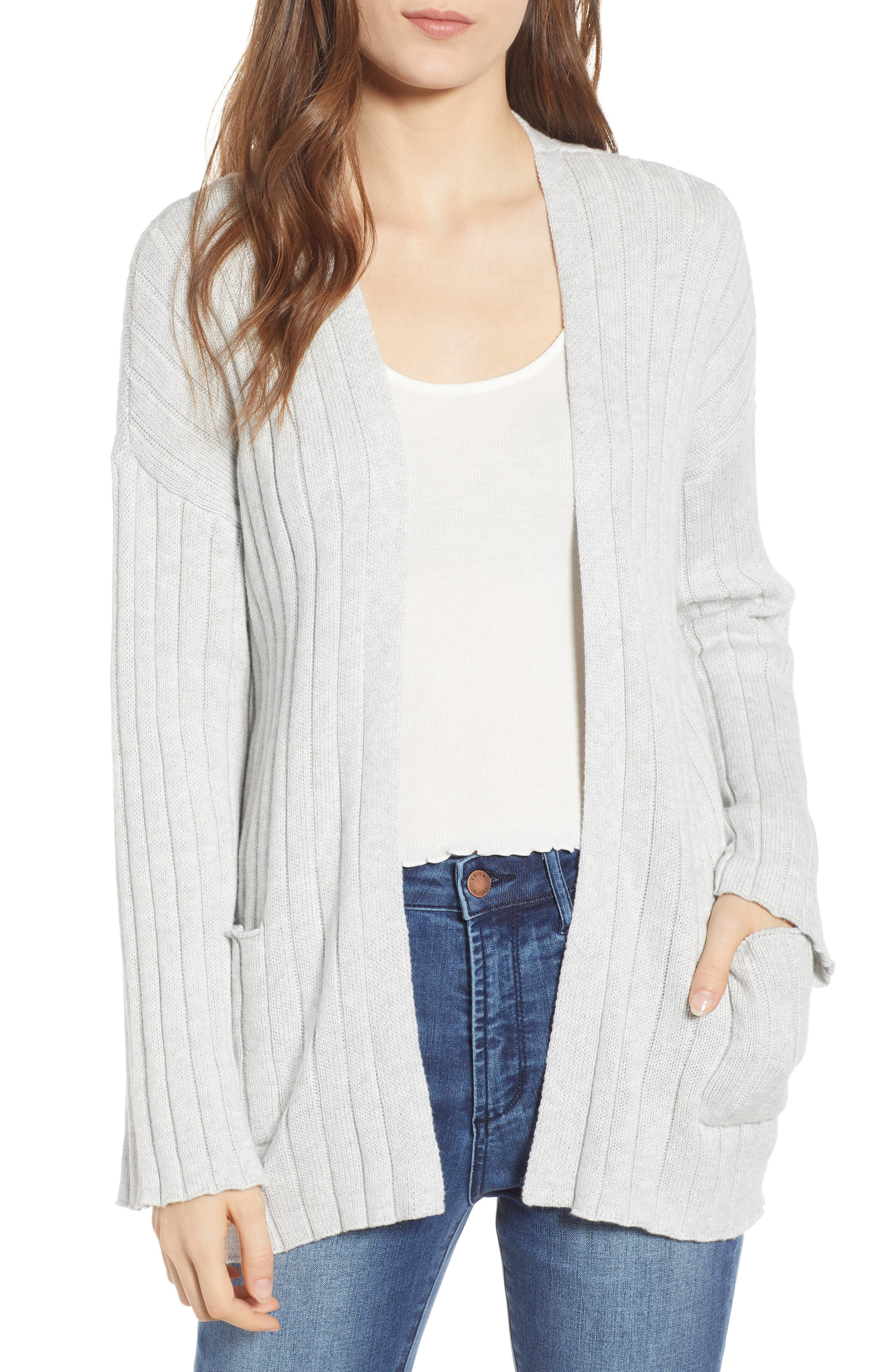 BP., Ribbed Throw On Cardigan, Main thumbnail 1, color, GREY QUIET HEATHER
