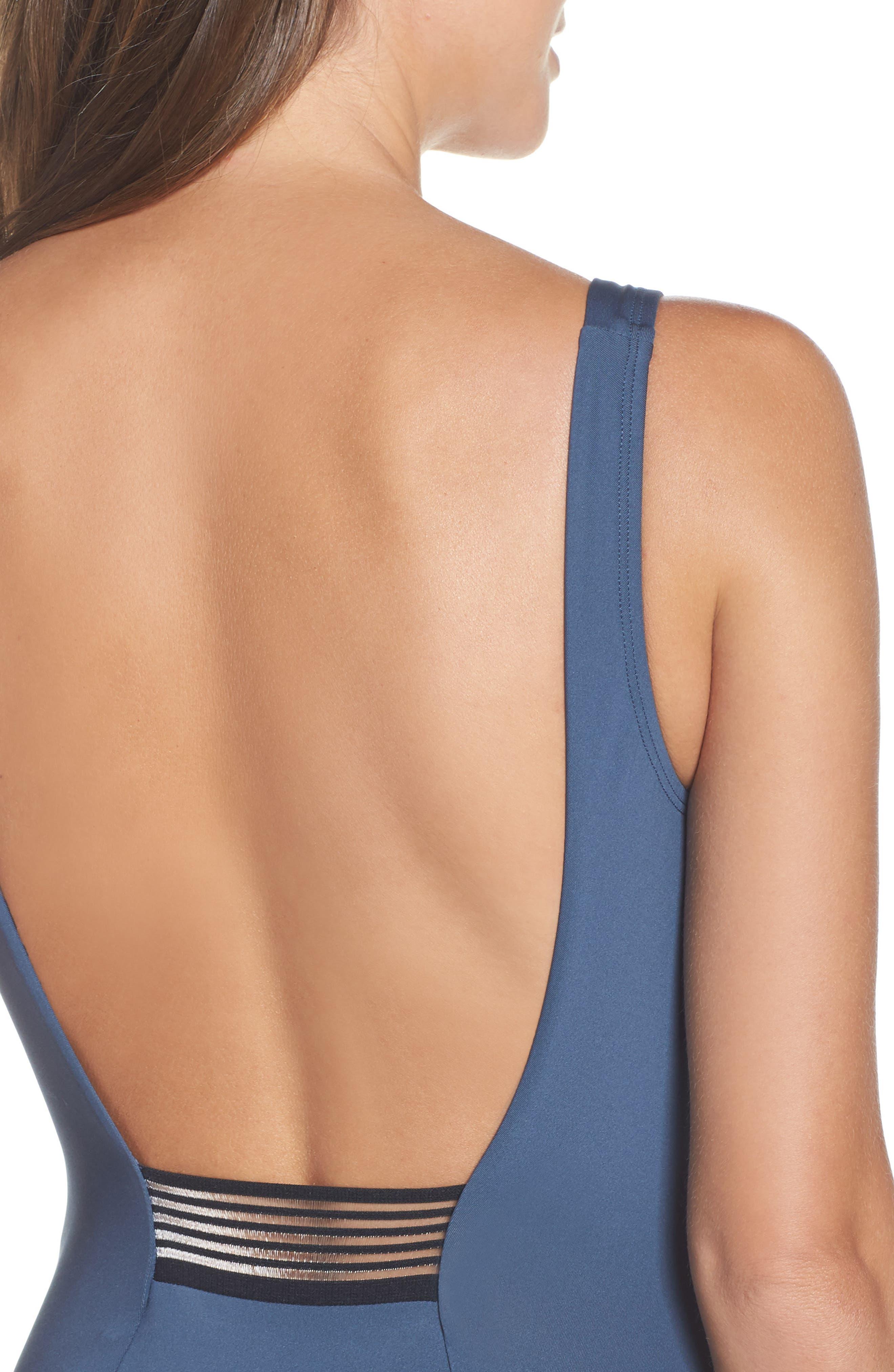 NIKE, U-Back One-Piece Swimsuit, Alternate thumbnail 4, color, MONSOON BLUE