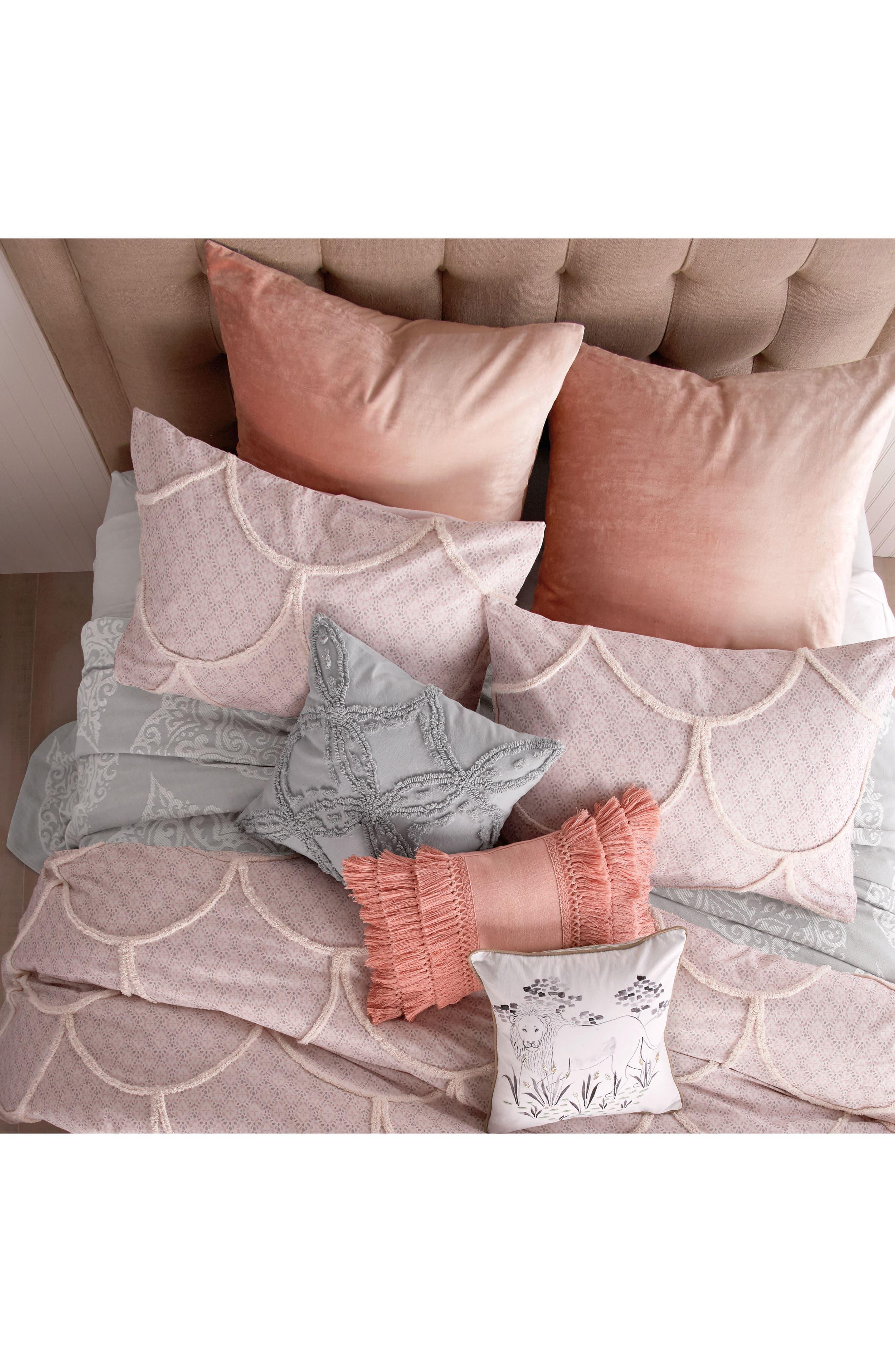 PERI HOME, Chenille Pillow, Alternate thumbnail 3, color, GREY