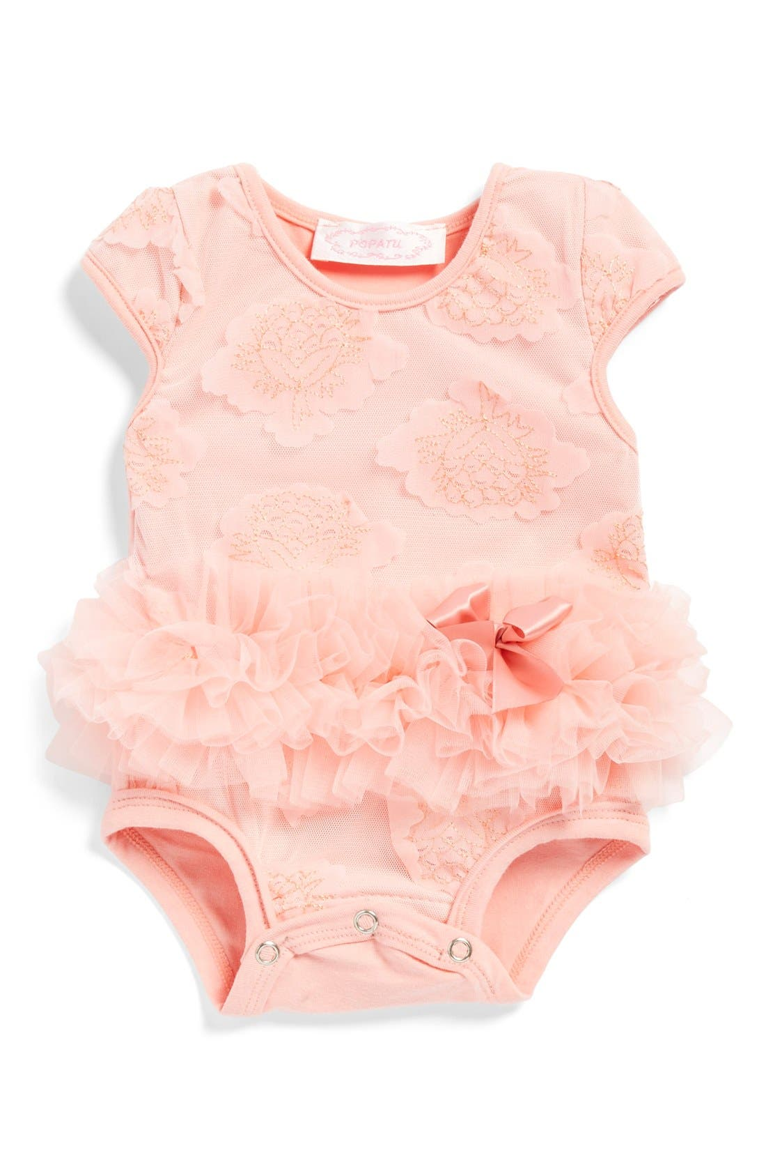POPATU Flower Tutu Bodysuit, Main, color, PEACH