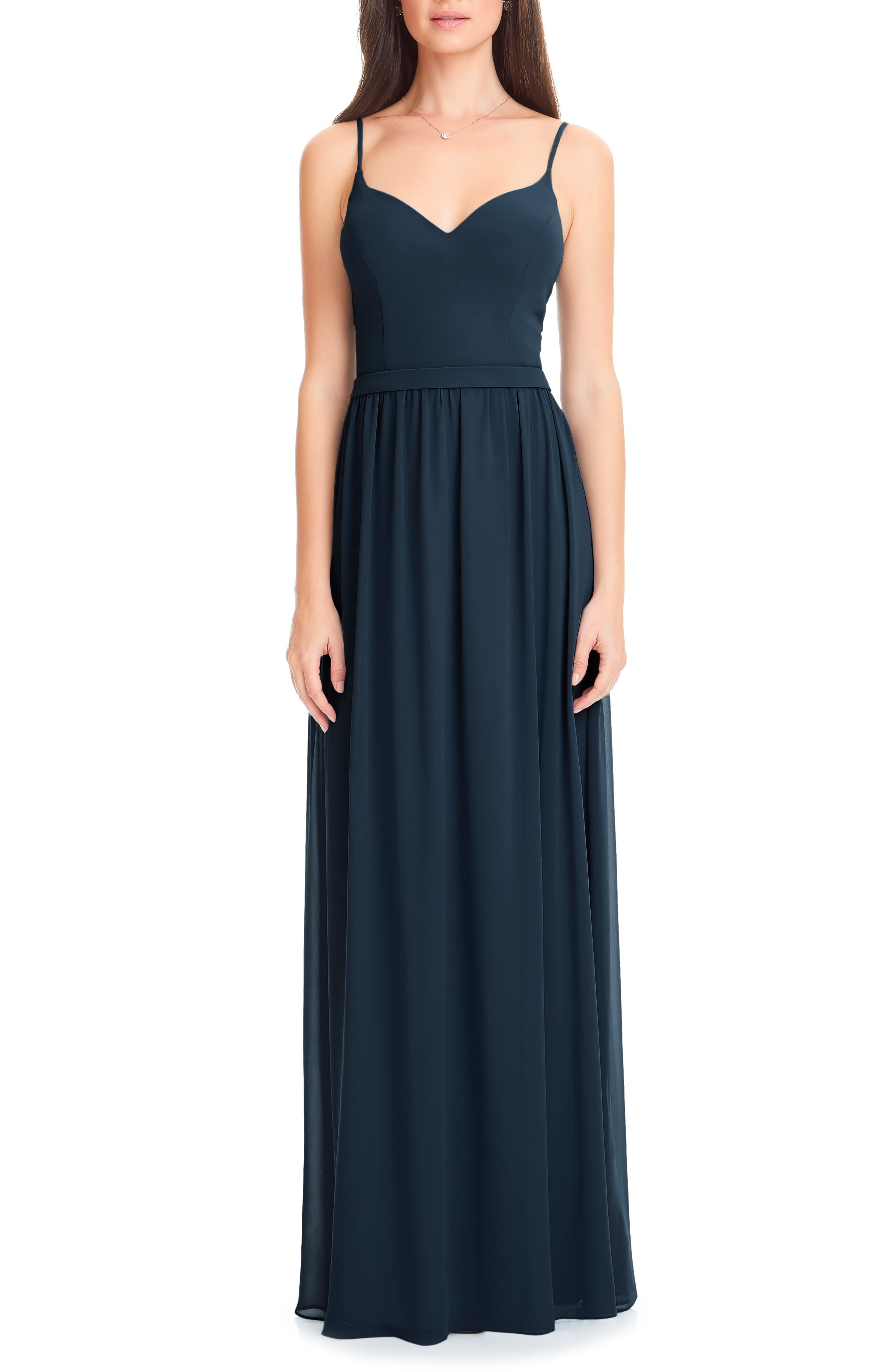 #LEVKOFF Levkoff Chiffon Gown, Main, color, NAVY