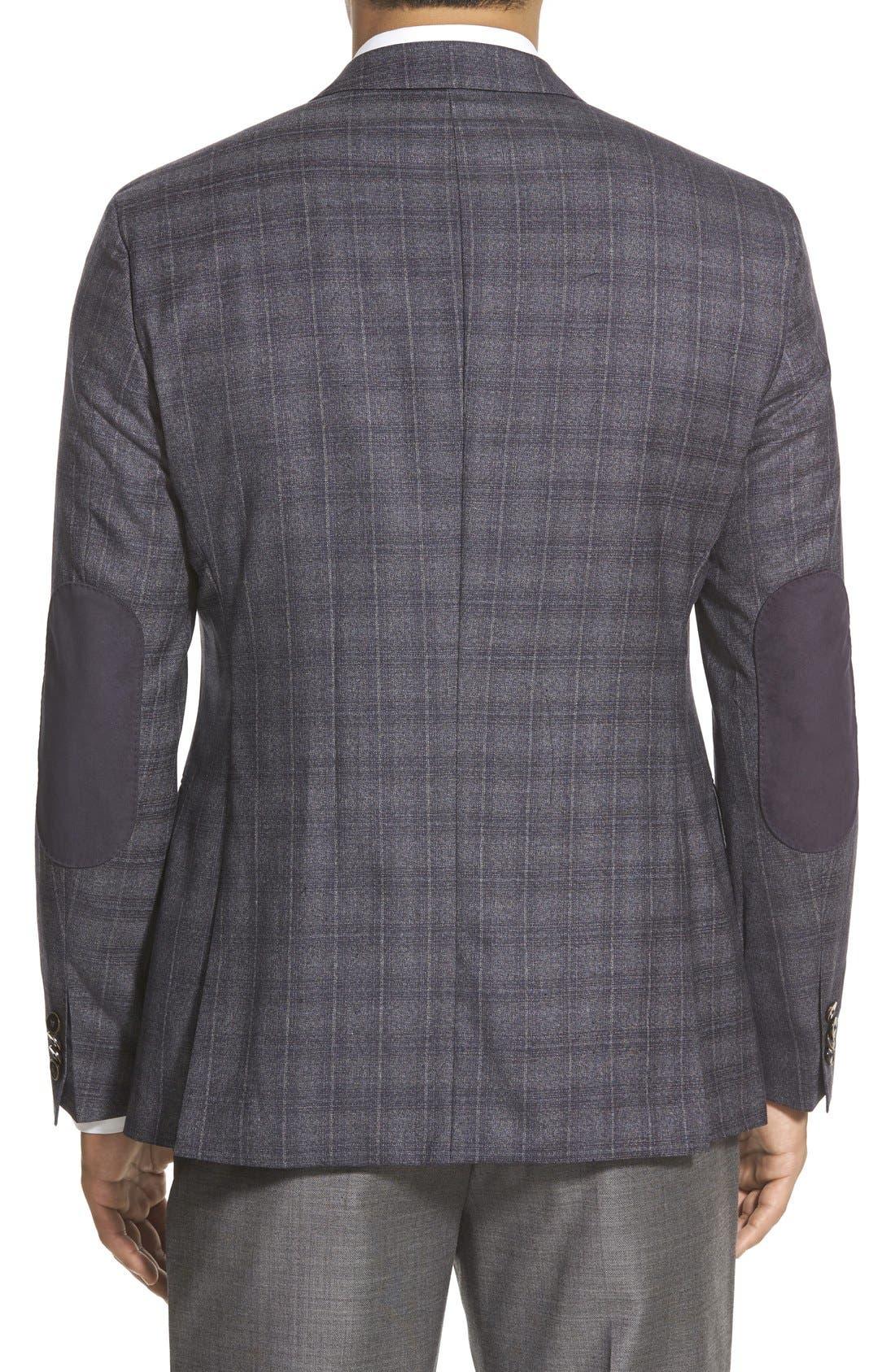 ZZDNUHUGO BOSS, BOSS 'Jayden' Trim Fit Plaid Wool Sport Coat, Alternate thumbnail 2, color, 420