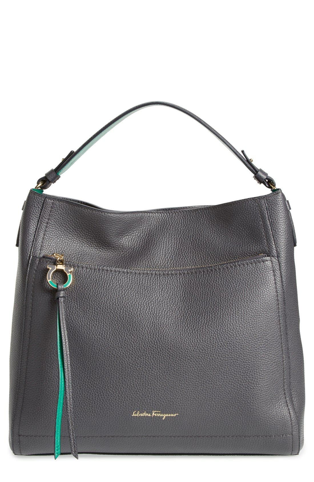 SALVATORE FERRAGAMO, 'Ally' Hobo, Main thumbnail 1, color, 020