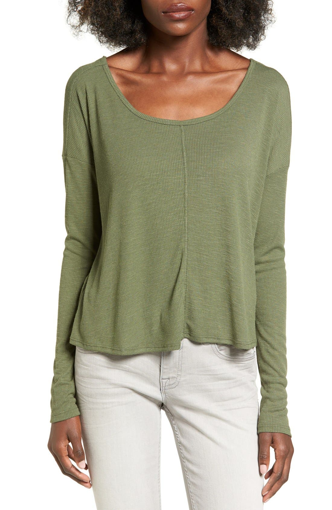 CHLOE & KATIE, Knotted Drape Back Tee, Main thumbnail 1, color, 300