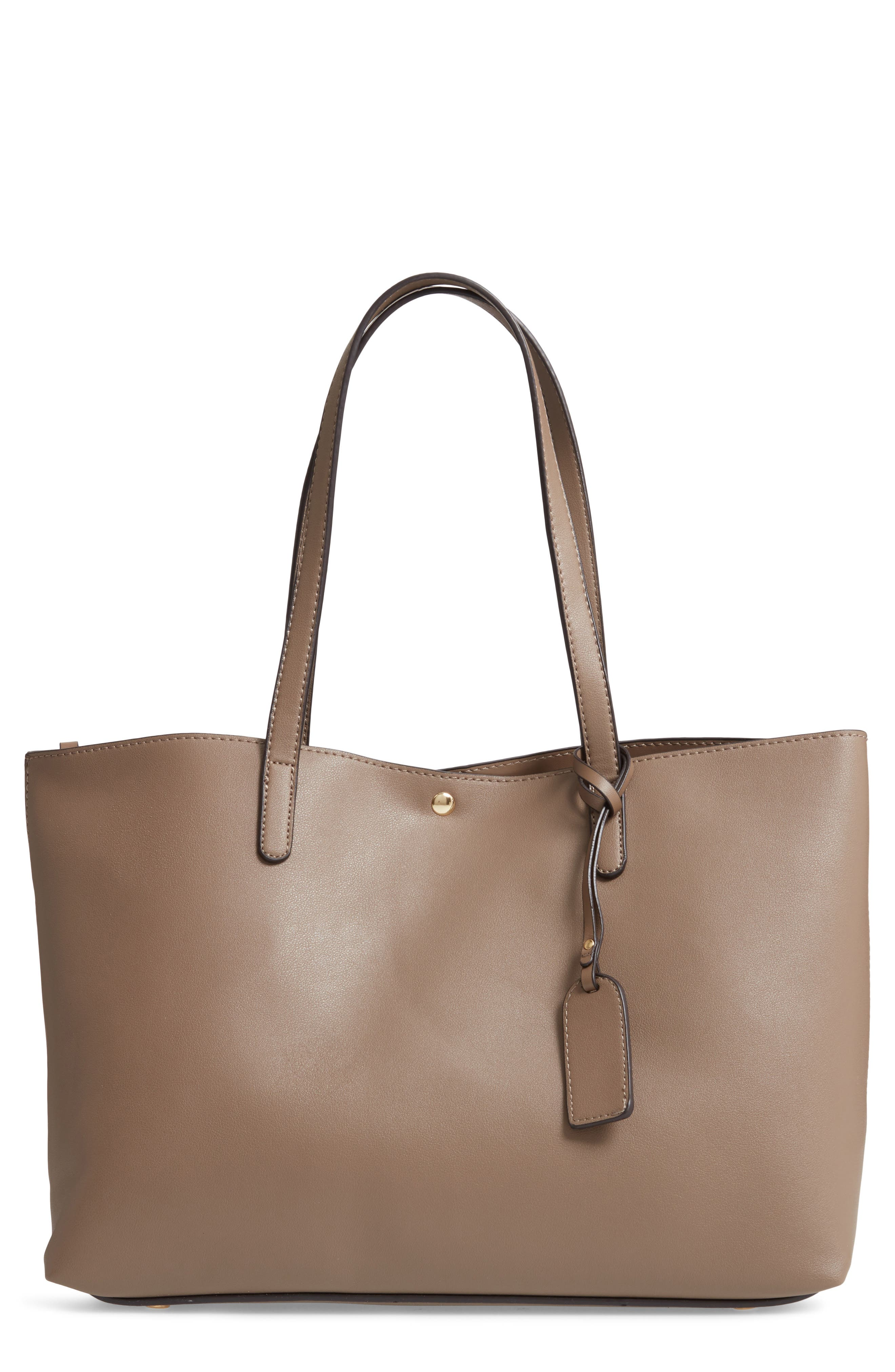 SOLE SOCIETY, Zeda Faux Leather Tote, Main thumbnail 1, color, TAUPE
