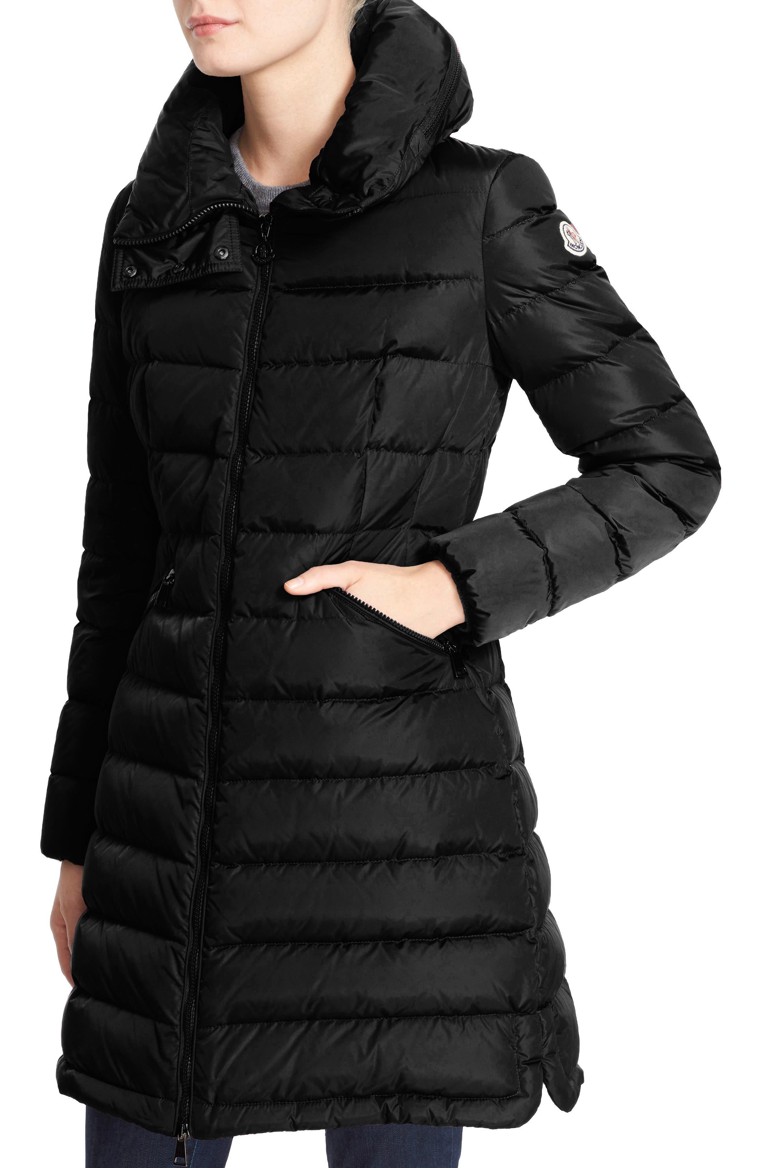 MONCLER, 'Flammette' Water Resistant Long Hooded Down Coat, Alternate thumbnail 4, color, BLK