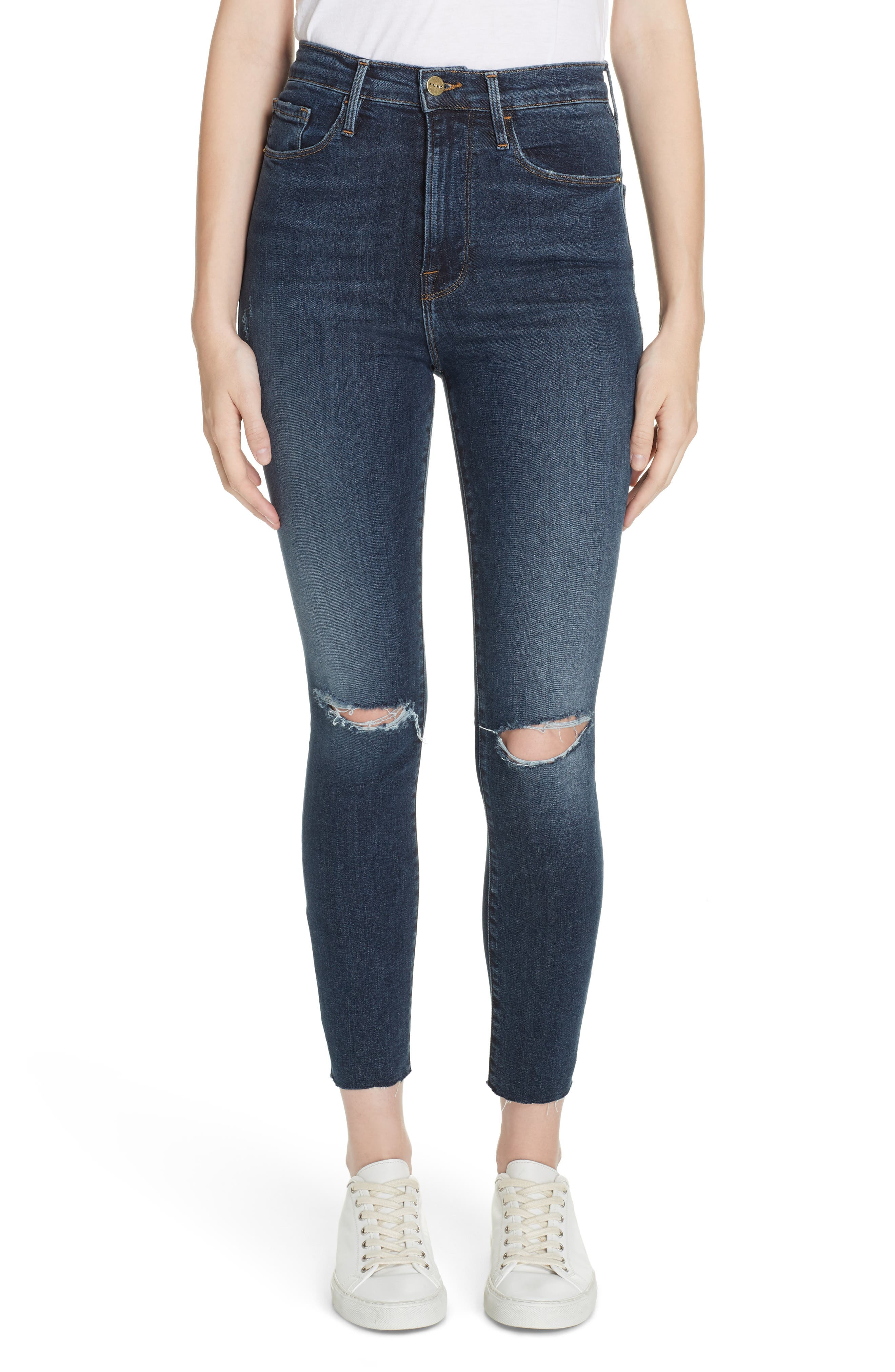 FRAME, Ali Ripped High Waist Crop Cigarette Jeans, Main thumbnail 1, color, BROKEDOWN PALACE