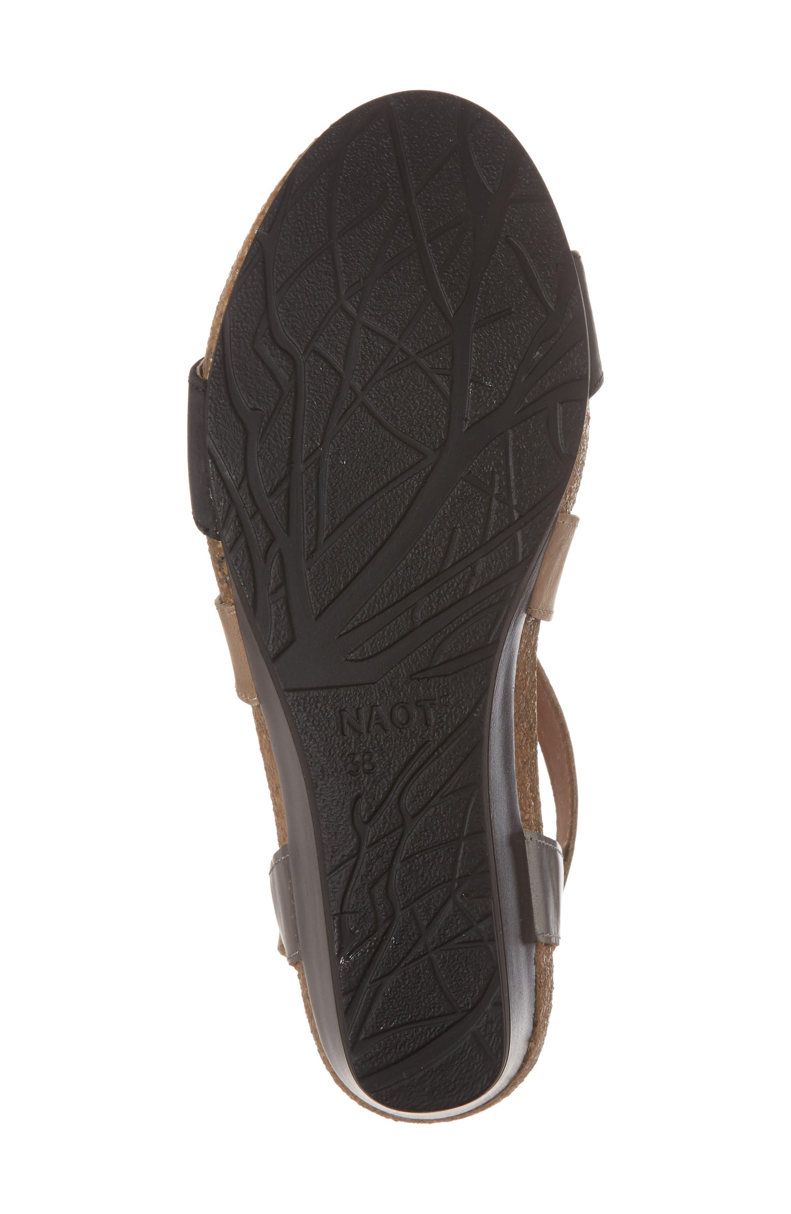 NAOT, Vixen Wedge Sandal, Alternate thumbnail 6, color, OILY COAL LEATHER