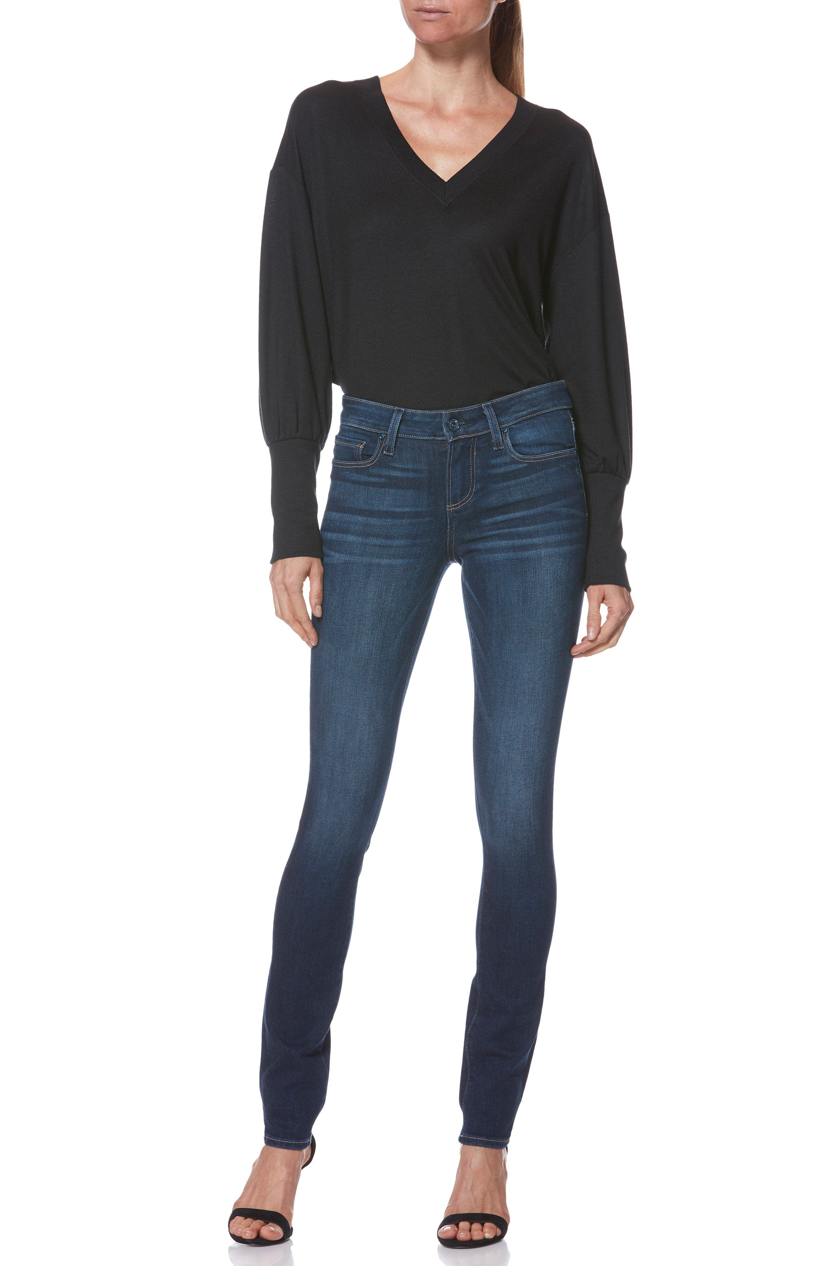 PAIGE, Skyline Skinny Jeans, Alternate thumbnail 8, color, IDLEWILD
