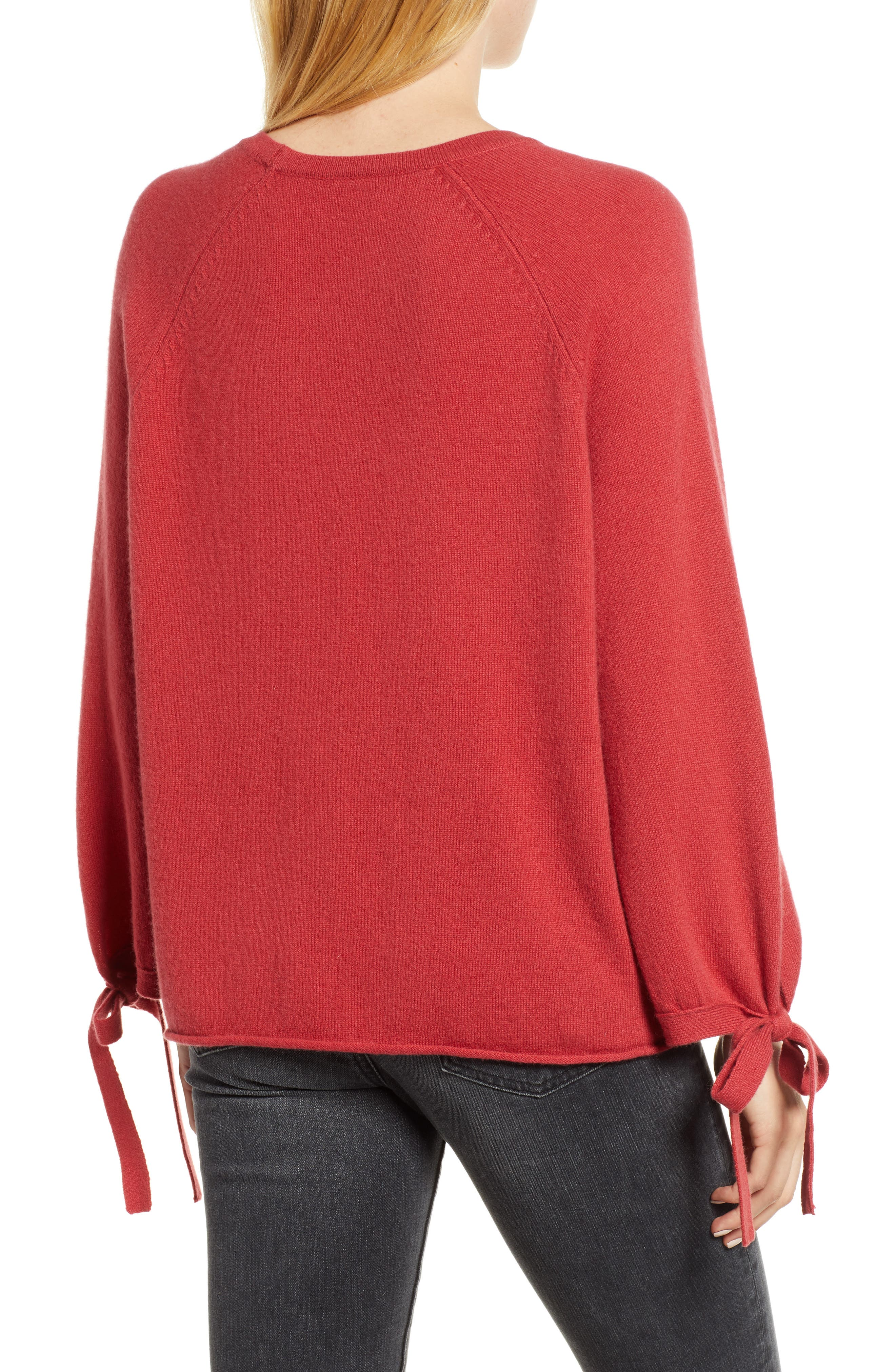 VELVET BY GRAHAM & SPENCER, Cashmere Tie Sleeve Sweater, Alternate thumbnail 2, color, SNAPPER