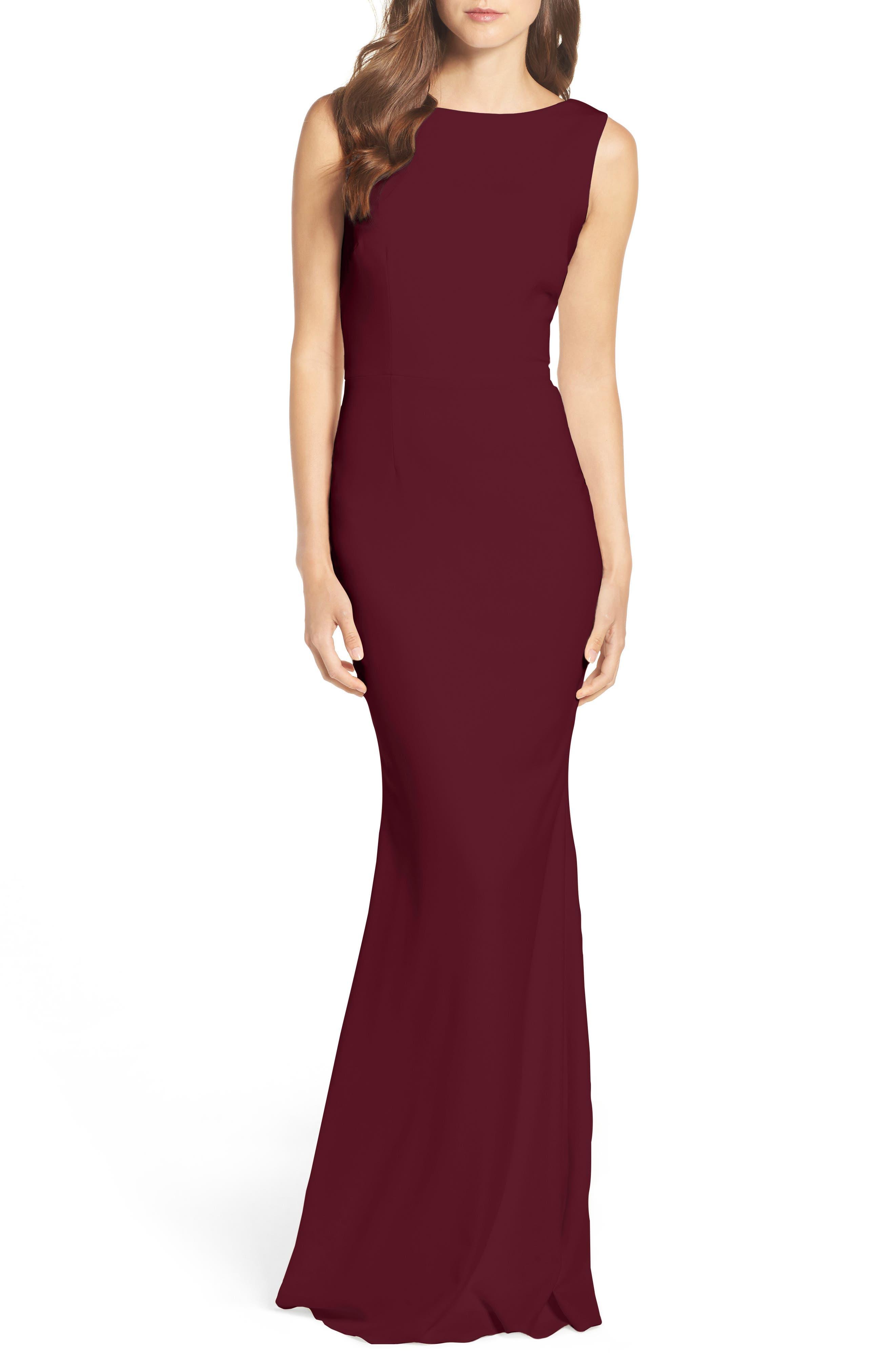 KATIE MAY, Vionnet Drape Back Crepe Gown, Alternate thumbnail 5, color, BLACK