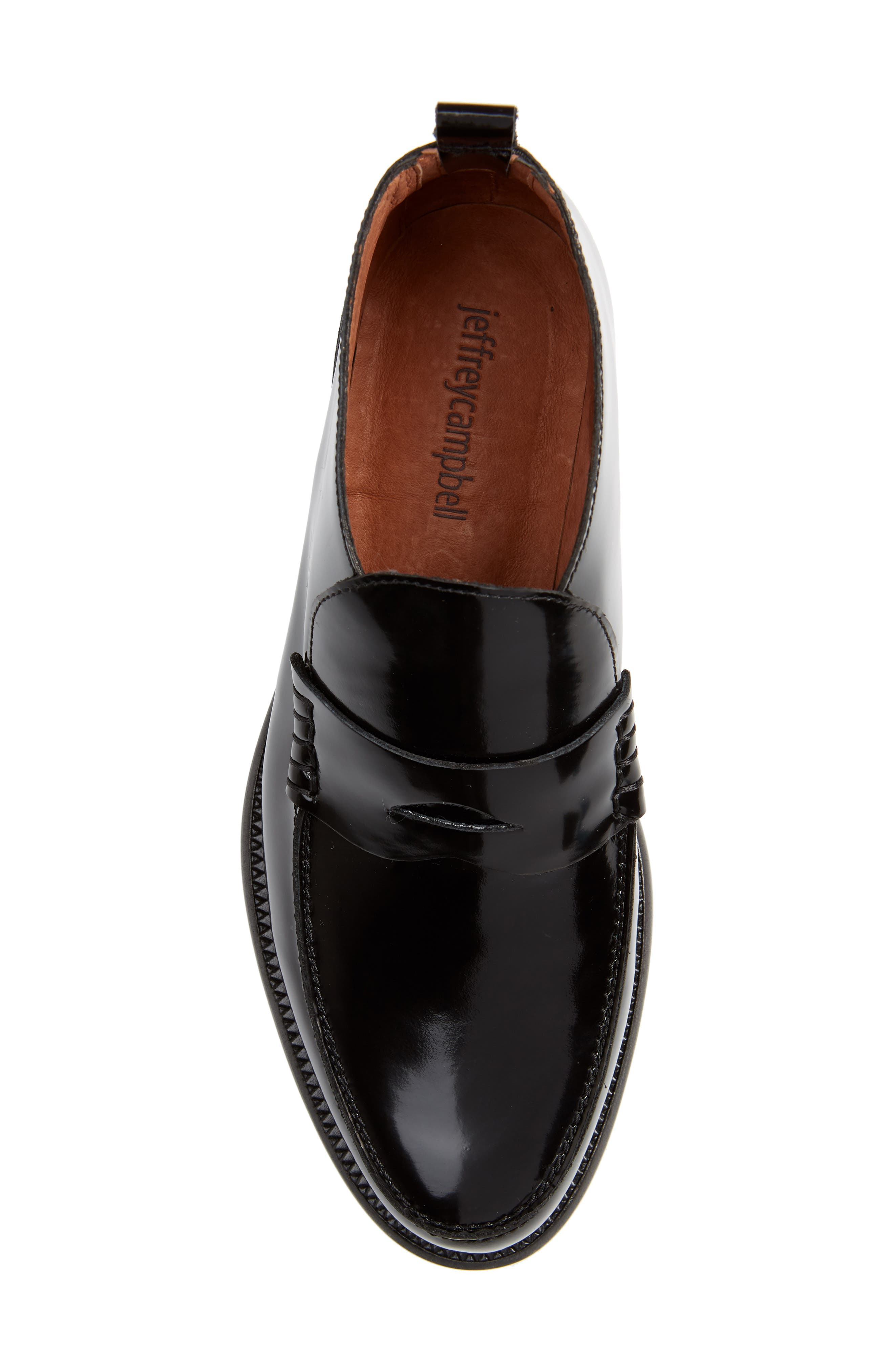 JEFFREY CAMPBELL, Marquis Loafer, Alternate thumbnail 5, color, BLACK LEATHER