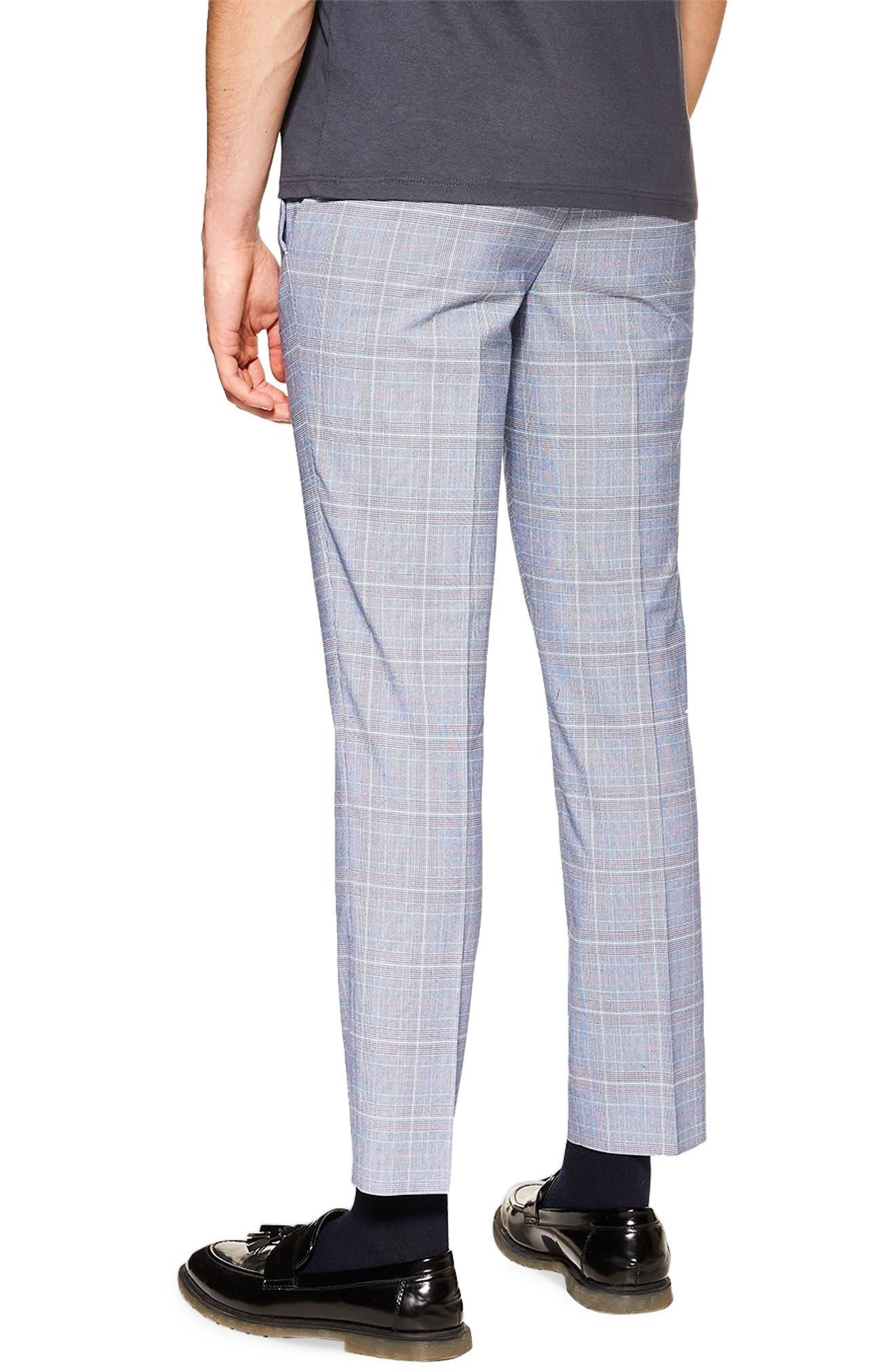 TOPMAN, Skinny Fit Plaid Trousers, Alternate thumbnail 2, color, BLUE MULTI