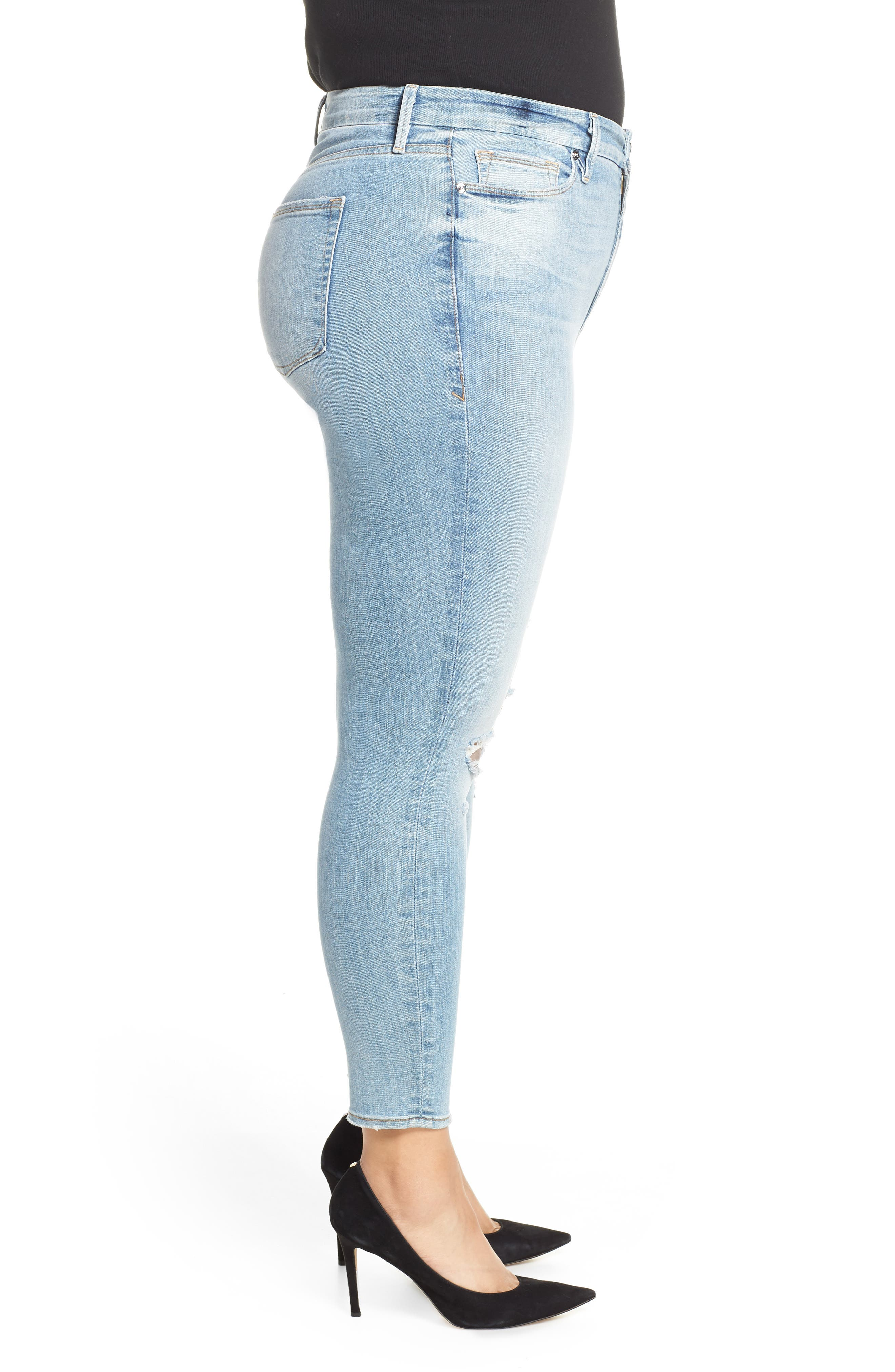 GOOD AMERICAN, Good Legs Ripped Crop Skinny Jeans, Alternate thumbnail 10, color, BLUE 199
