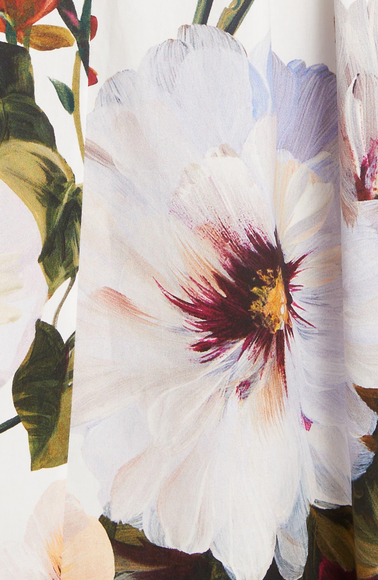 DOLCE&GABBANA, Floral Print A-Line Poplin Midi Skirt, Alternate thumbnail 5, color, PRINT