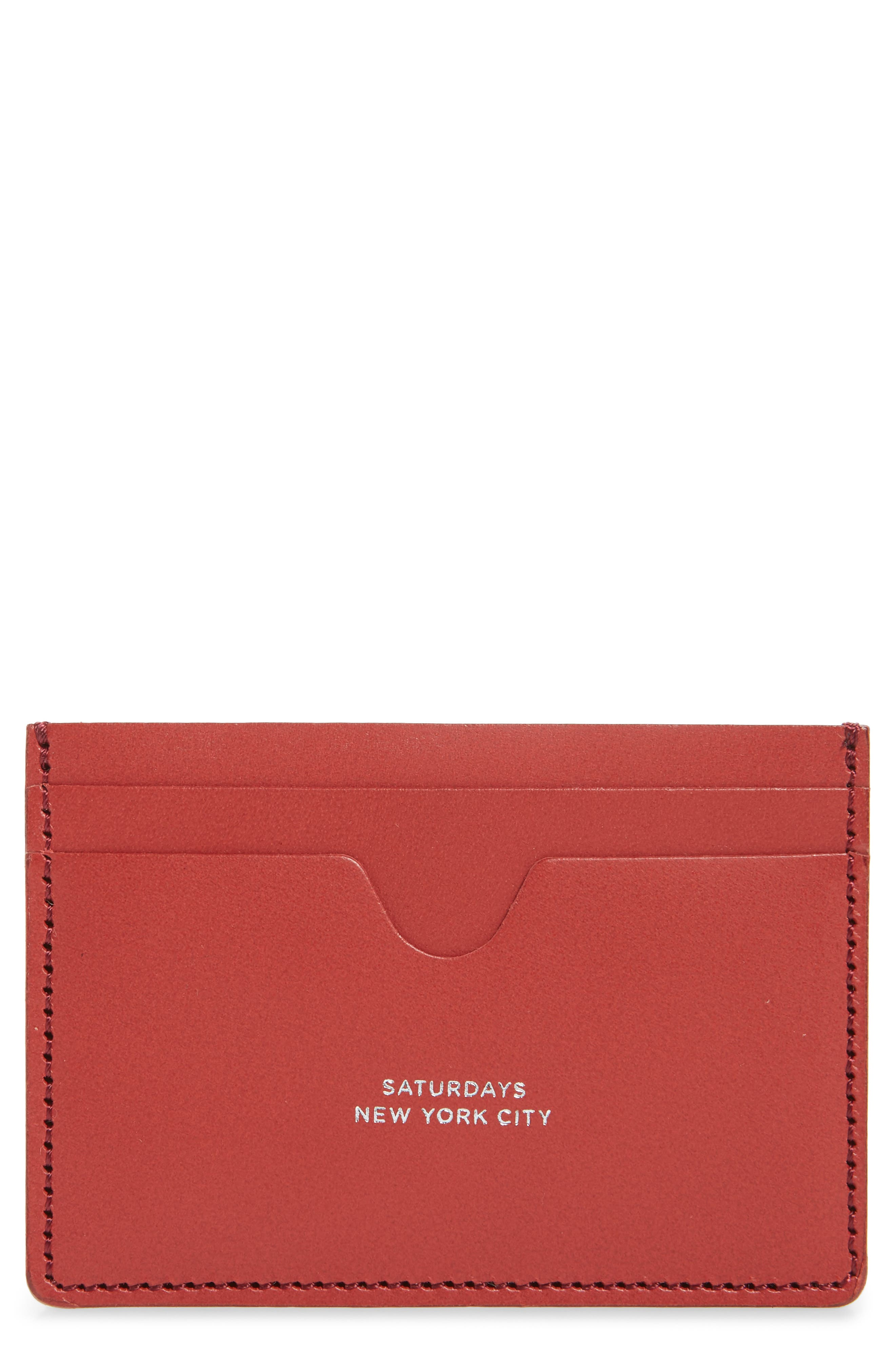 SATURDAYS NYC, Ryan Leather Card Case, Main thumbnail 1, color, TRUE RED