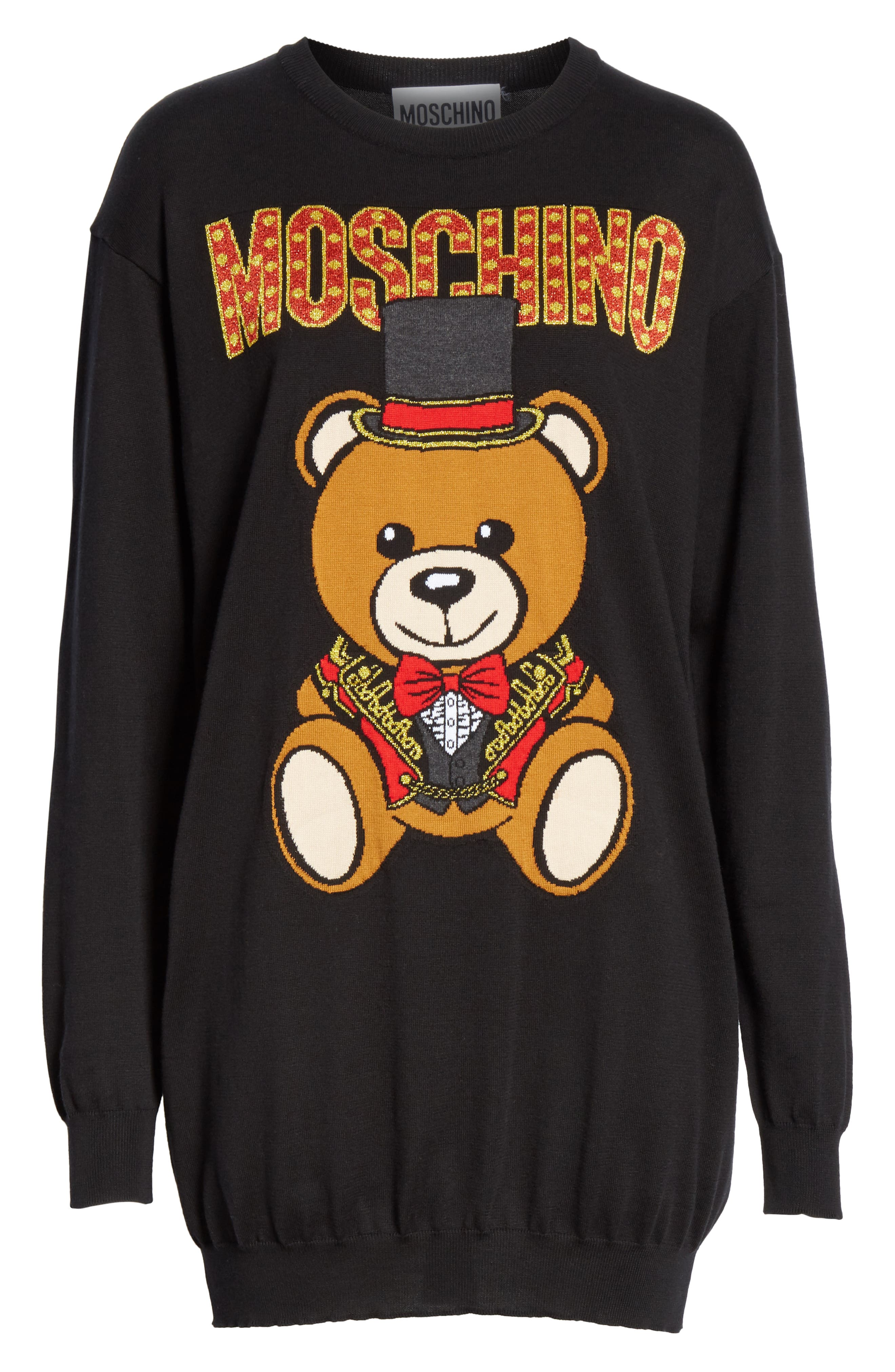 MOSCHINO, Circus Teddy Sweater Dress, Alternate thumbnail 6, color, BLACK