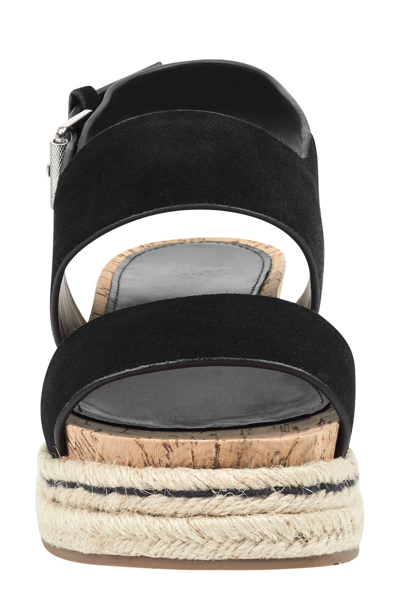 MARC FISHER LTD, Oria Espadrille Platform Sandal, Alternate thumbnail 4, color, BLACK SUEDE
