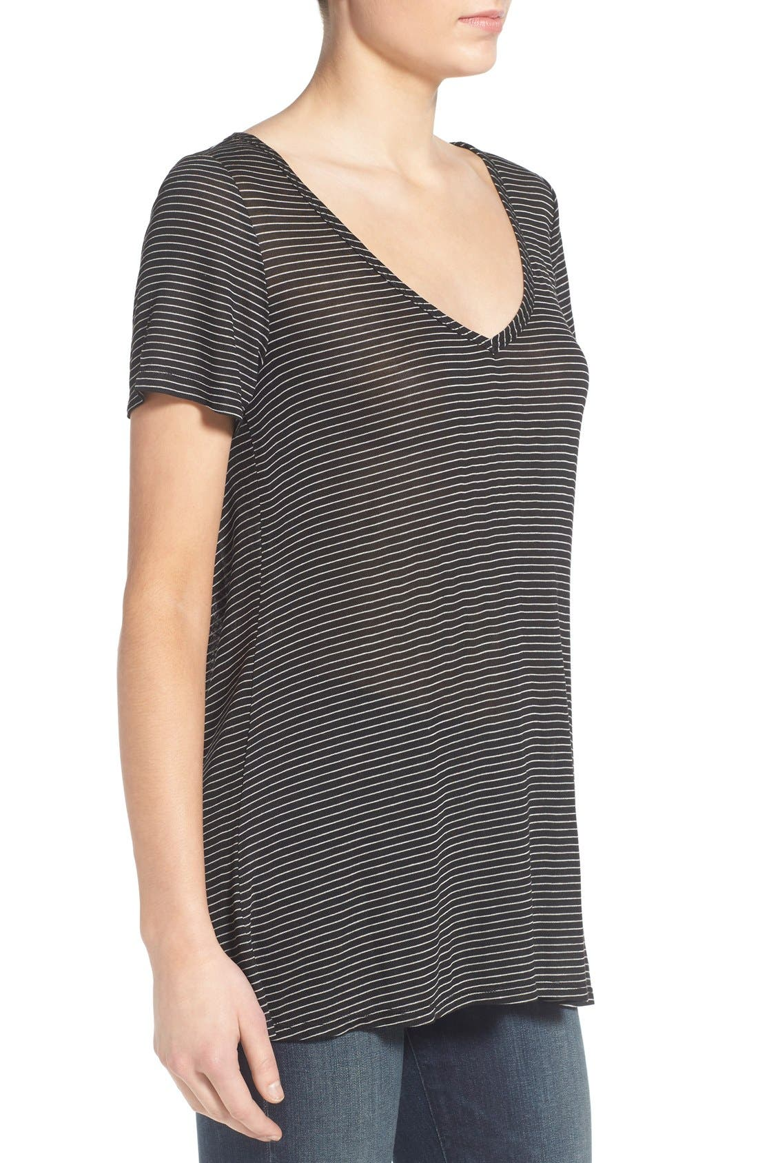 SOCIALITE, Stripe Back Cutout Tee, Alternate thumbnail 5, color, 003