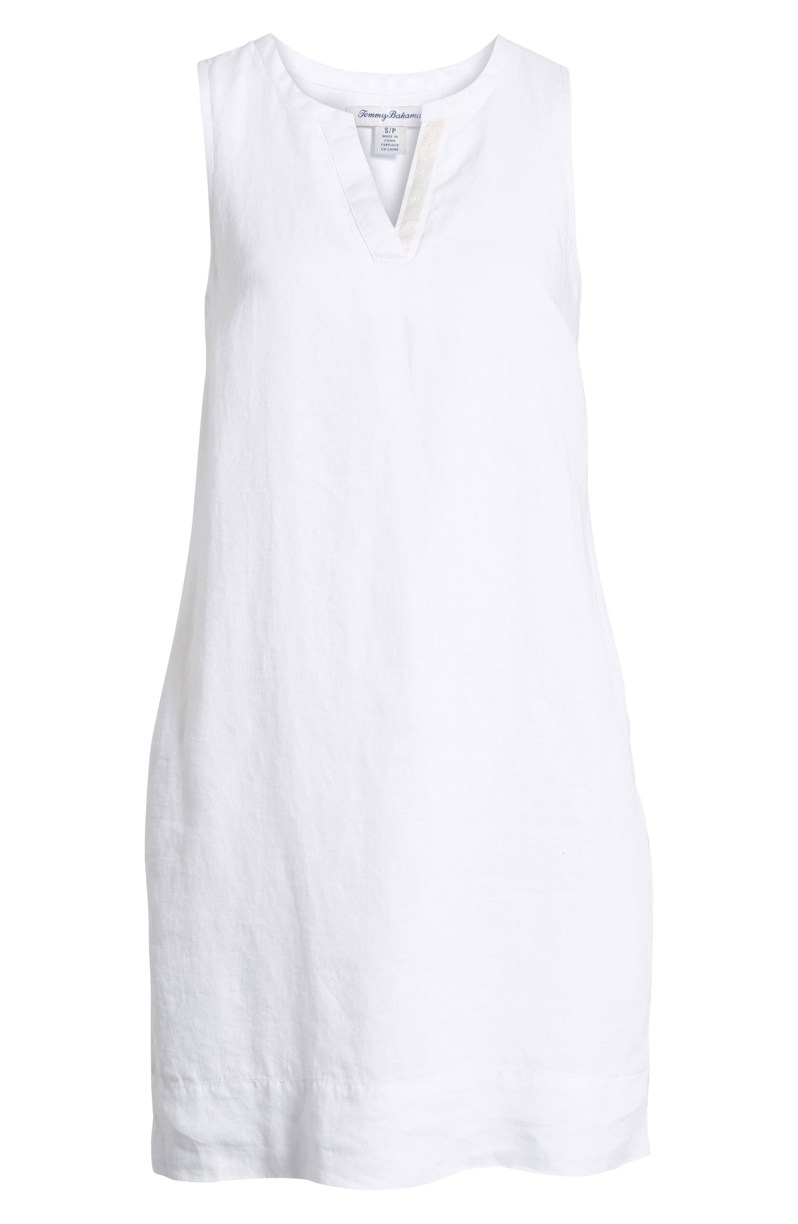 TOMMY BAHAMA, Sea Glass Linen Shift Dress, Alternate thumbnail 7, color, WHITE