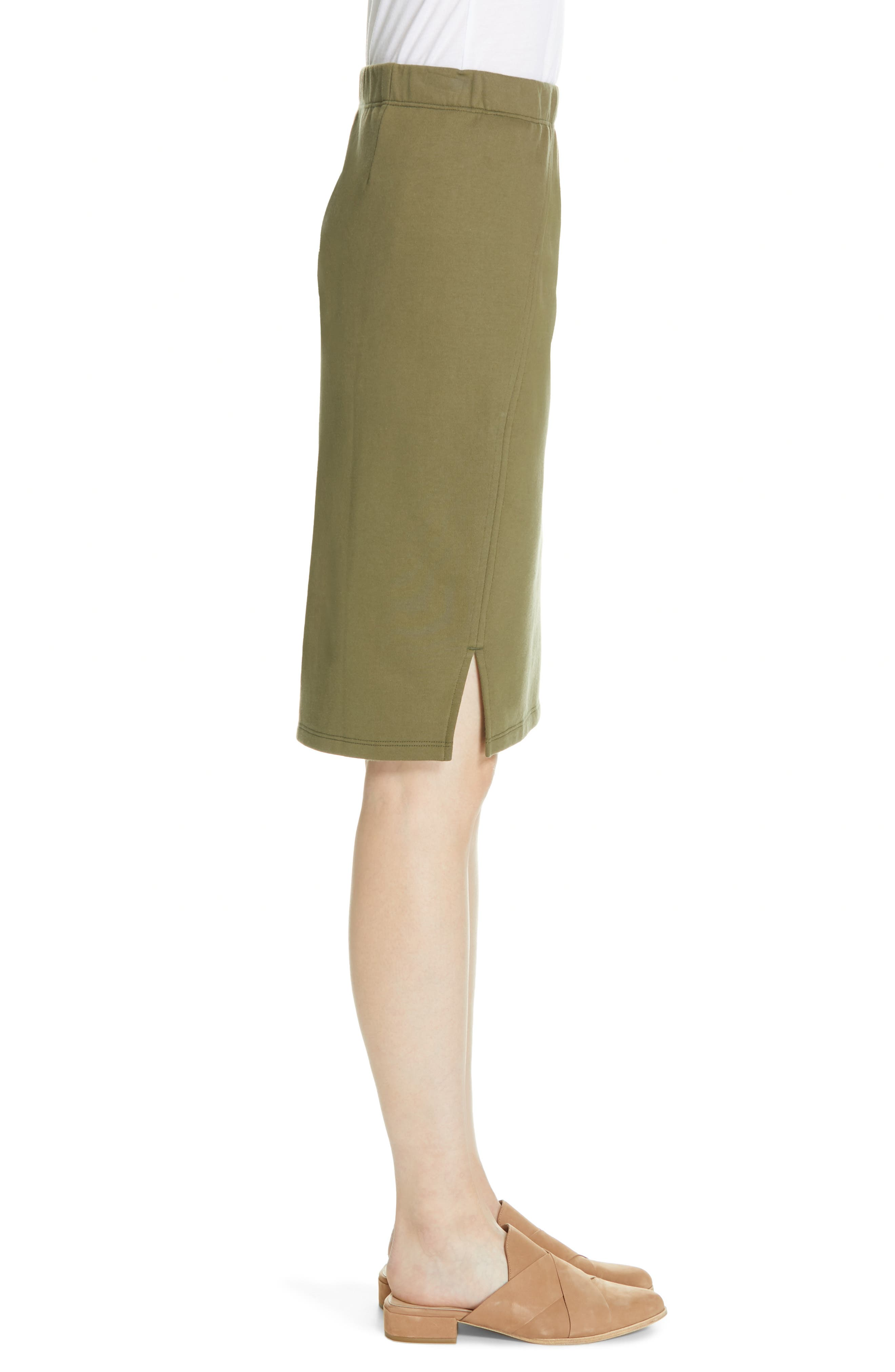 EILEEN FISHER, Organic Cotton Pencil Skirt, Alternate thumbnail 3, color, OLIVE