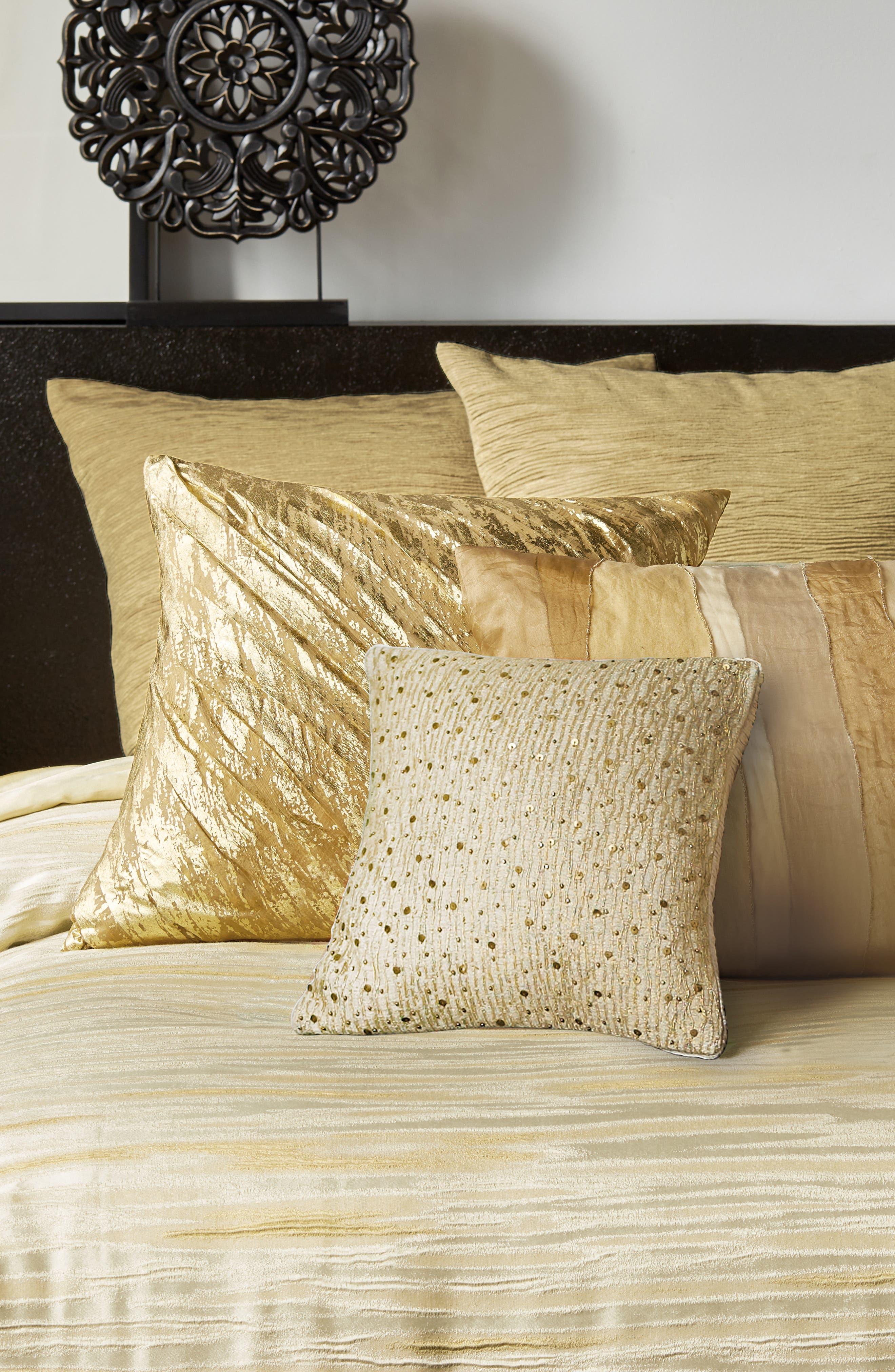 DONNA KARAN NEW YORK, Gilded Sheer Layered Accent Pillow, Alternate thumbnail 3, color, GOLD