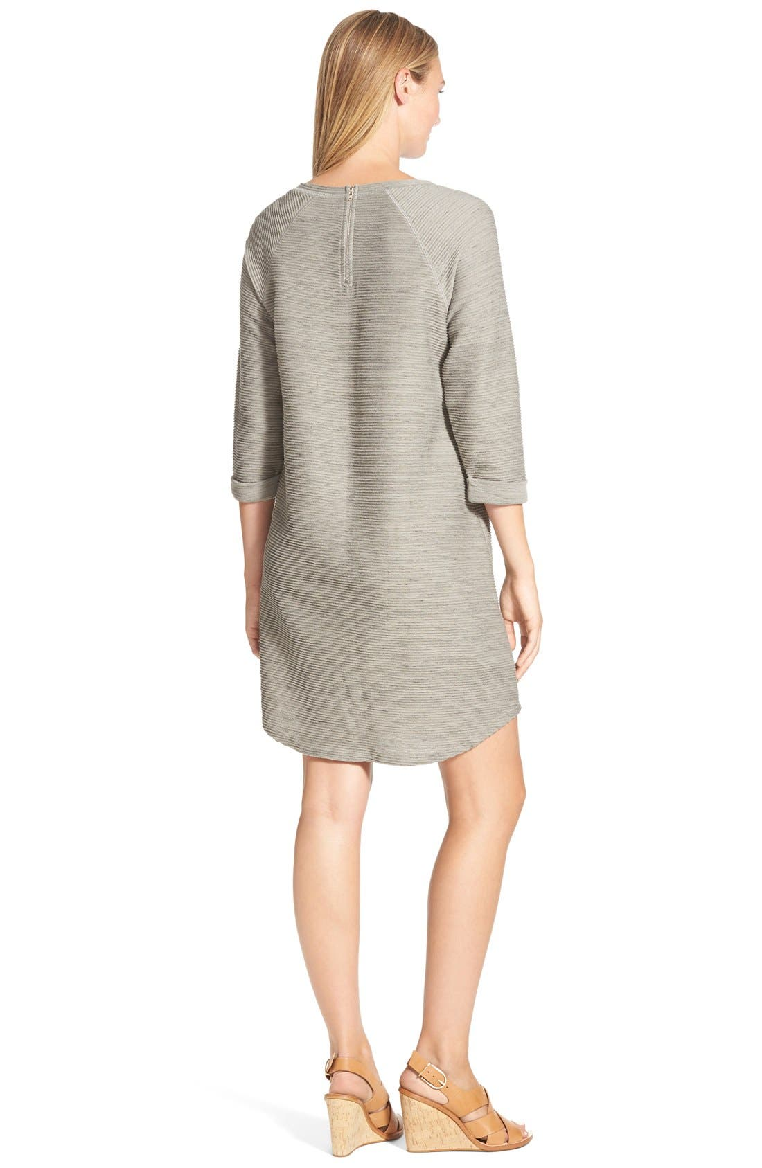 CASLON<SUP>®</SUP>, Roll Sleeve Textured Knit Shift Dress, Alternate thumbnail 3, color, 025
