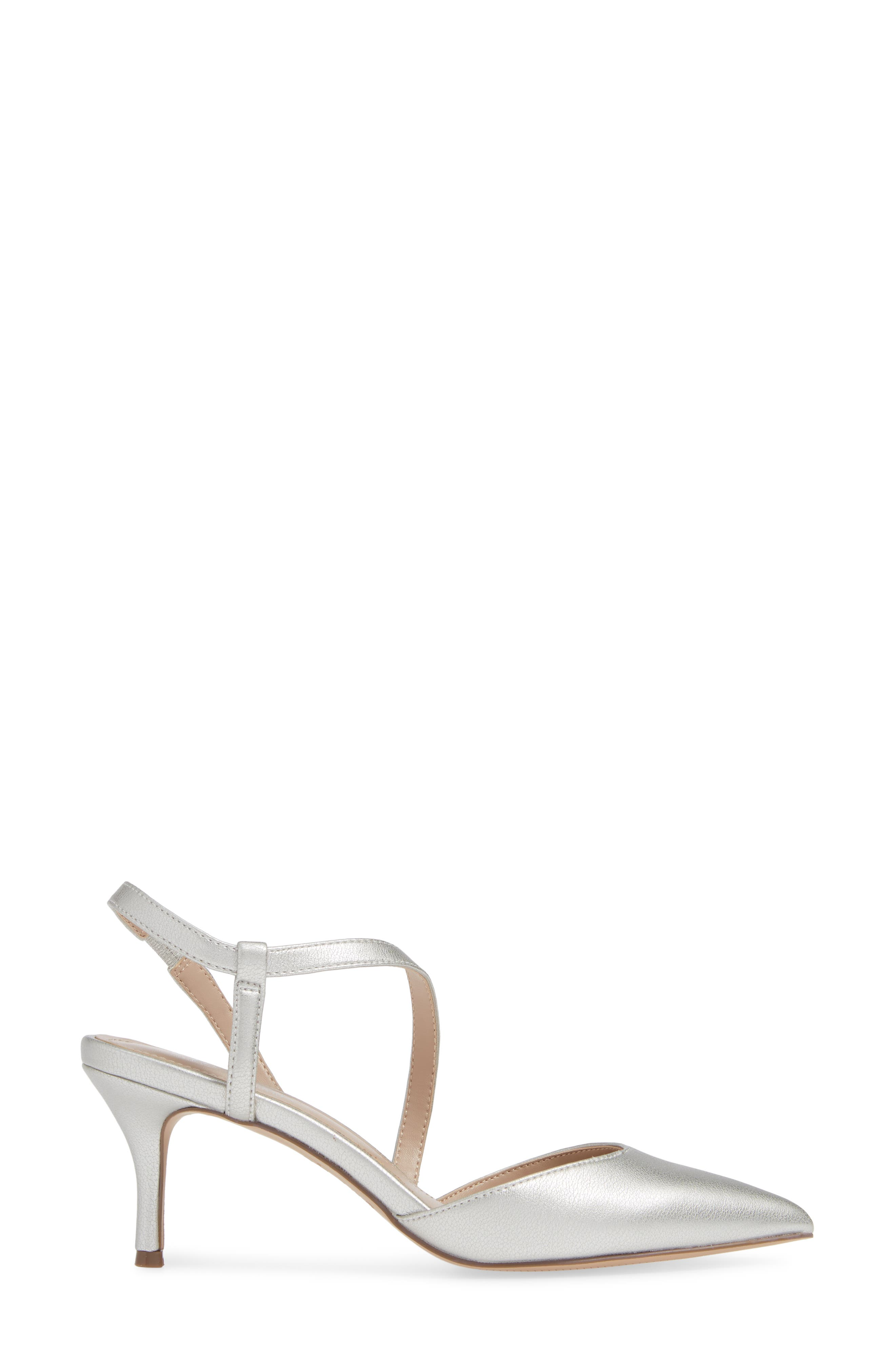 CHARLES BY CHARLES DAVID, Alda Pump, Alternate thumbnail 3, color, SILVER FAUX LEATHER