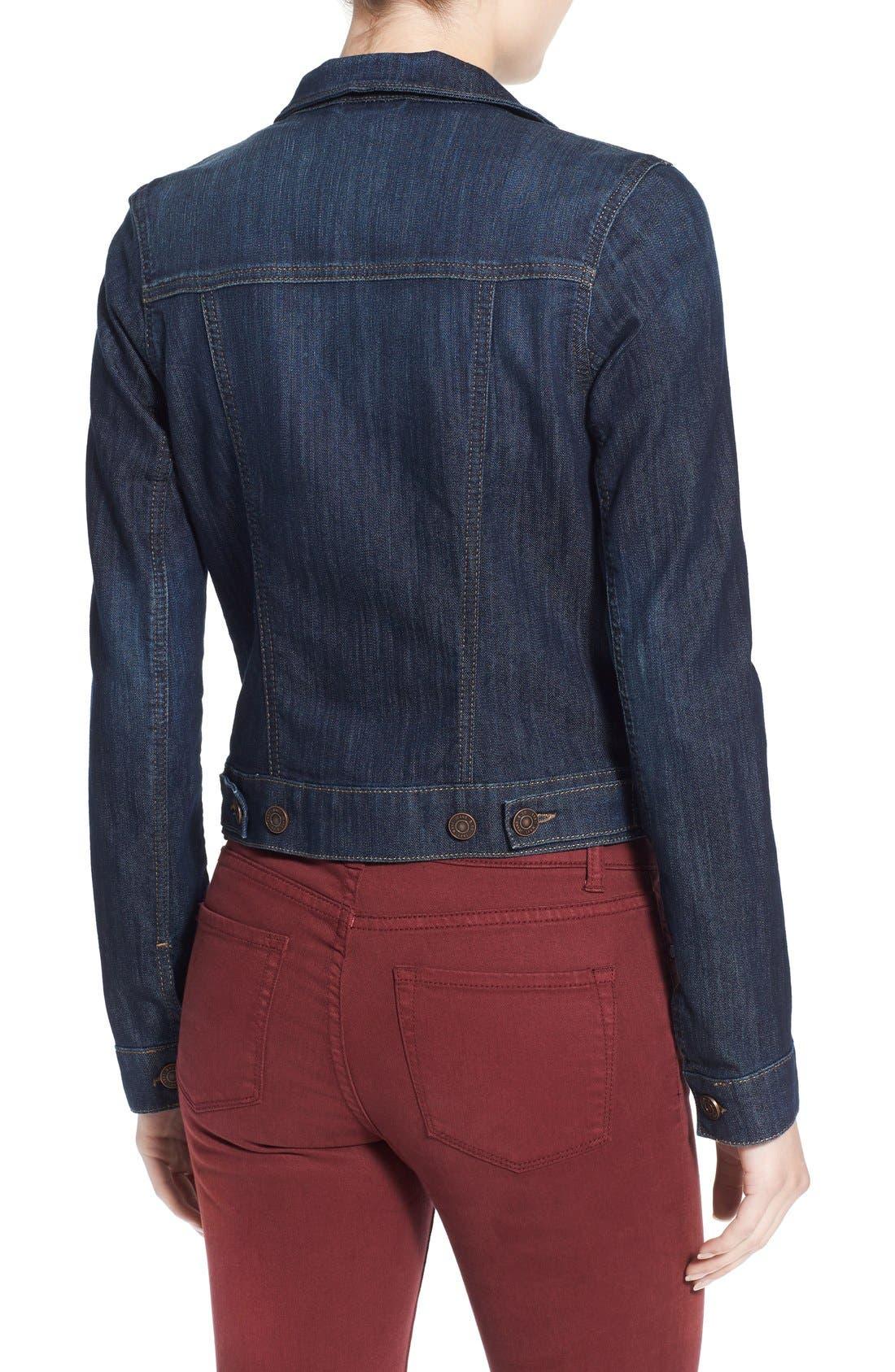 MAVI JEANS, 'Samantha' Denim Jacket, Alternate thumbnail 4, color, DARK NOLITA