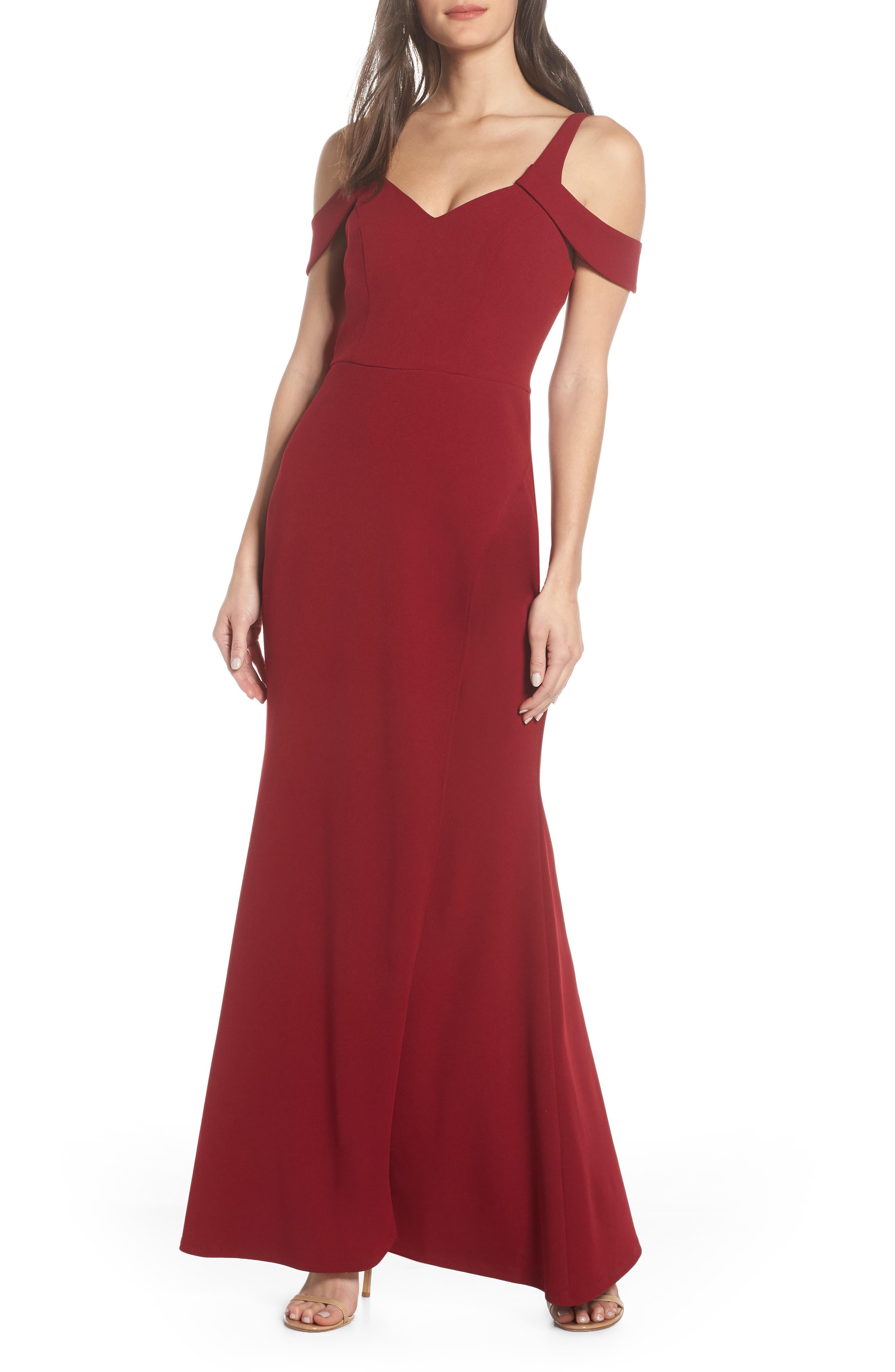 Sequin Hearts Scuba Crepe Cold Shoulder Evening Dress, Red