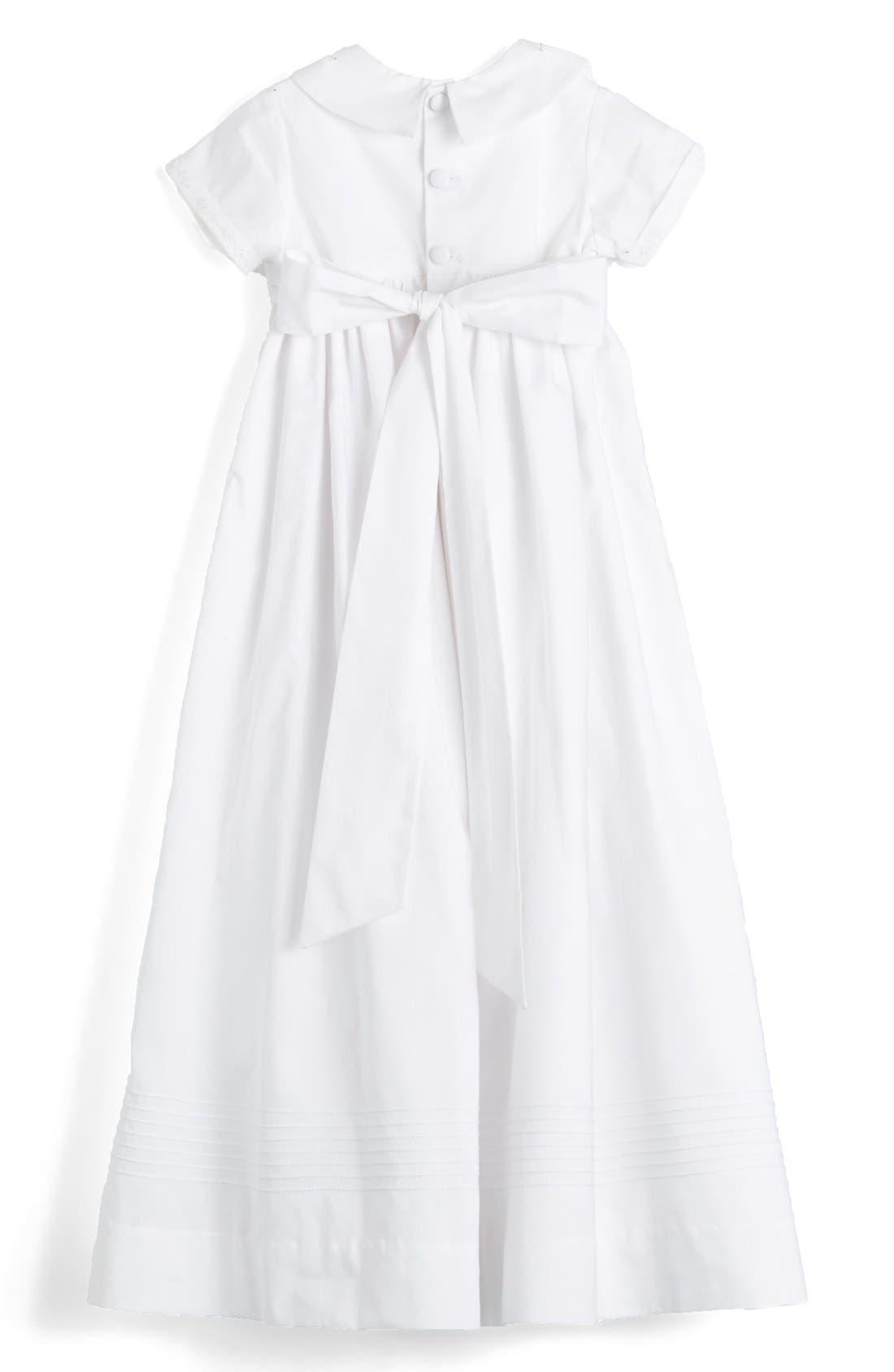 ISABEL GARRETON, 'Classic' Christening Gown & Bonnet, Alternate thumbnail 4, color, WHITE