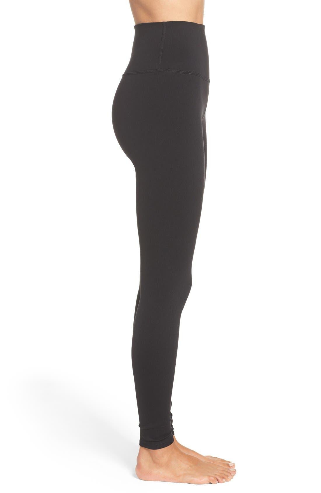 ALO, Airbrush High Waist Leggings, Alternate thumbnail 6, color, BLACK