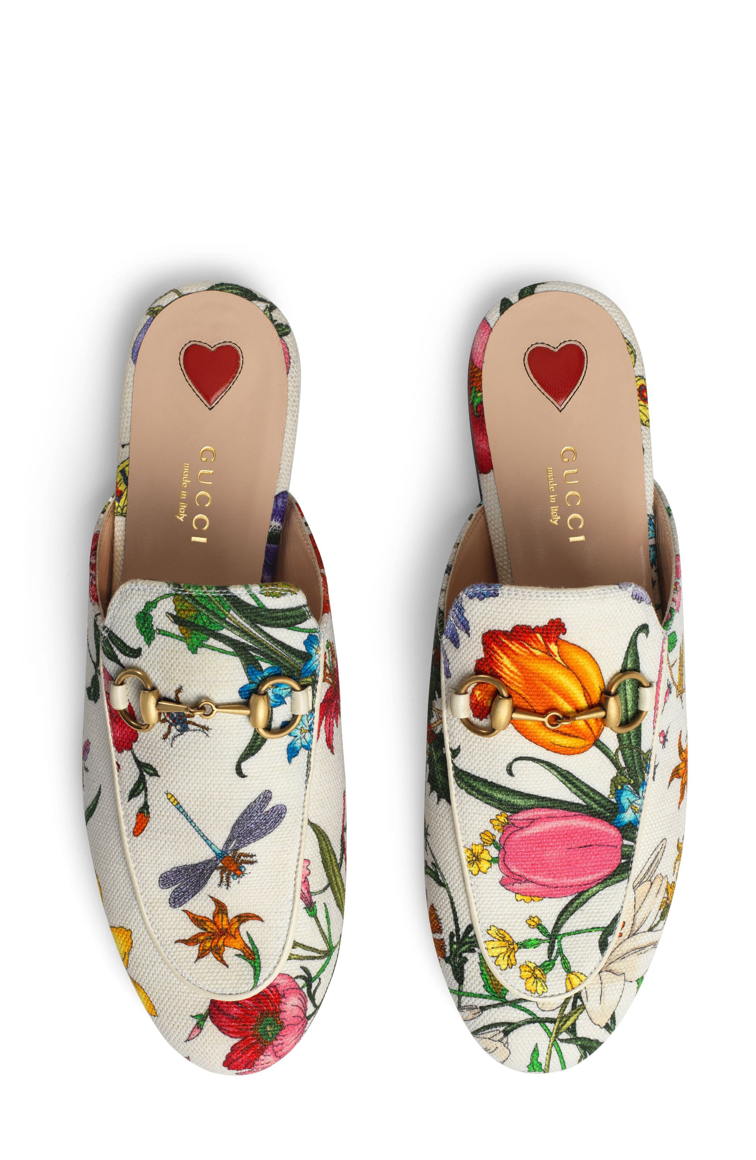 GUCCI, Princetown Loafer Mule, Alternate thumbnail 4, color, WHITE FLORAL