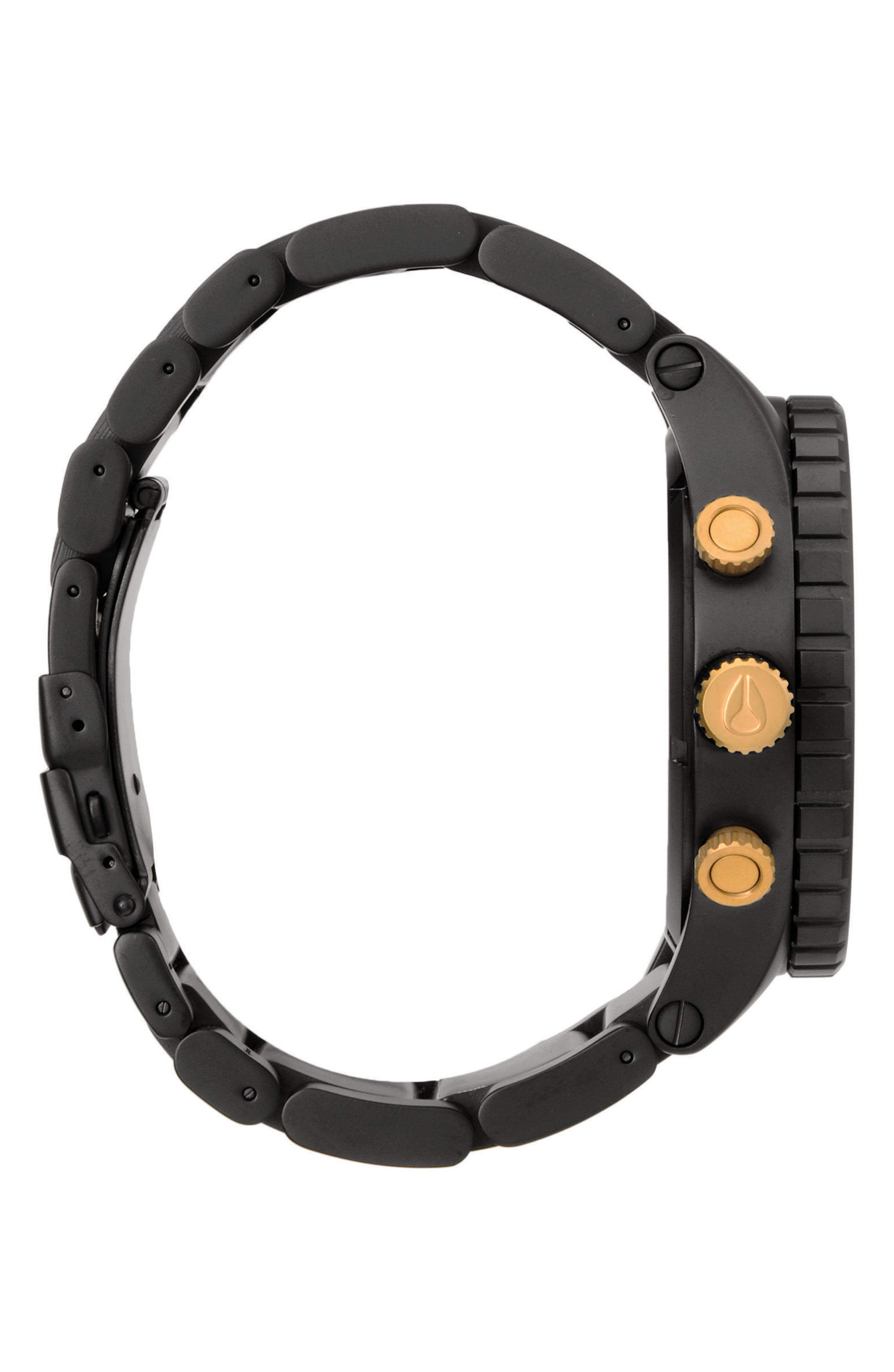 NIXON, 'The 51-30 Chrono' Watch, 51mm, Alternate thumbnail 3, color, MATTE BLACK/ GOLD