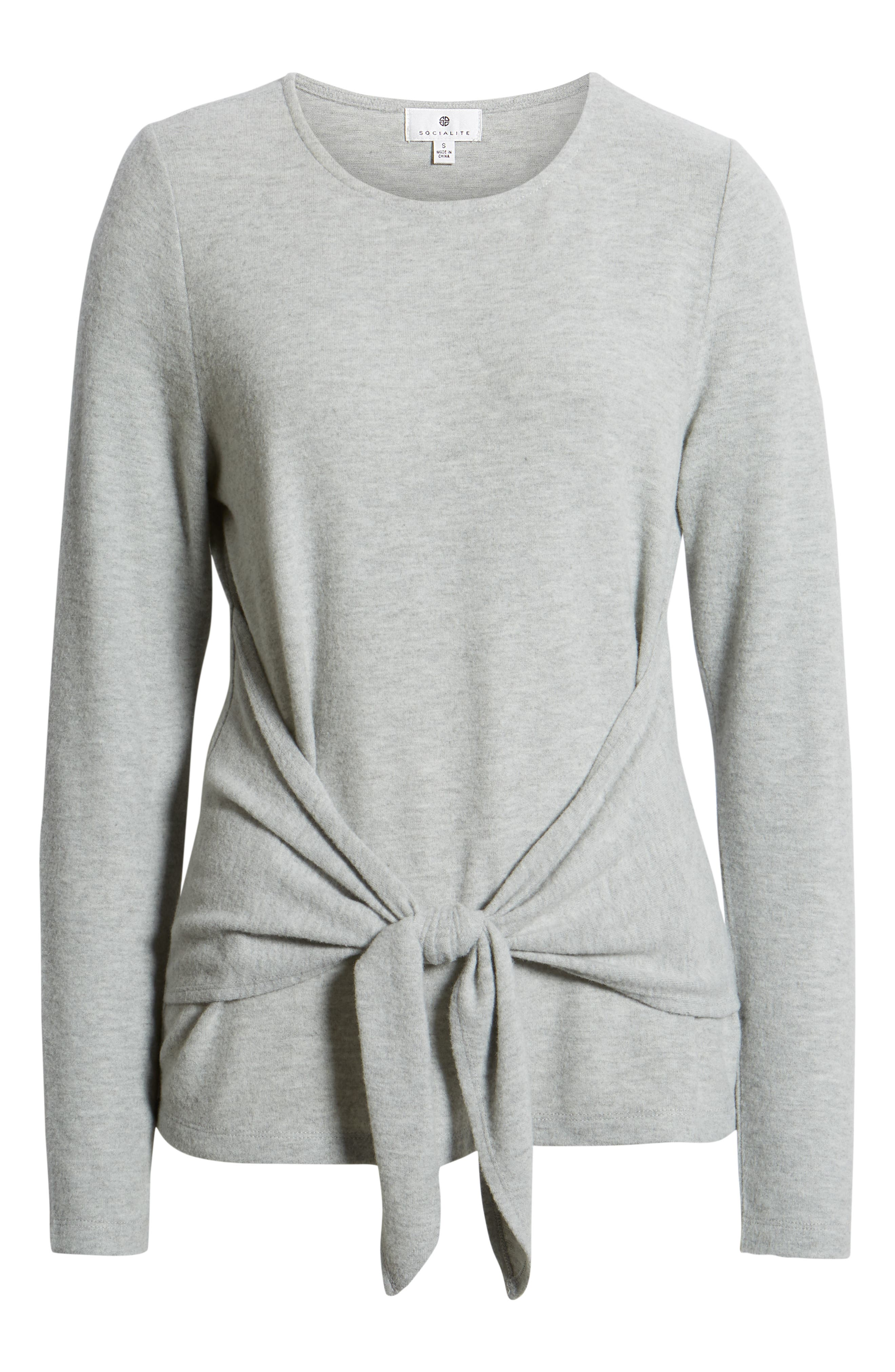 SOCIALITE, Tie Front Top, Alternate thumbnail 6, color, HEATHER GREY