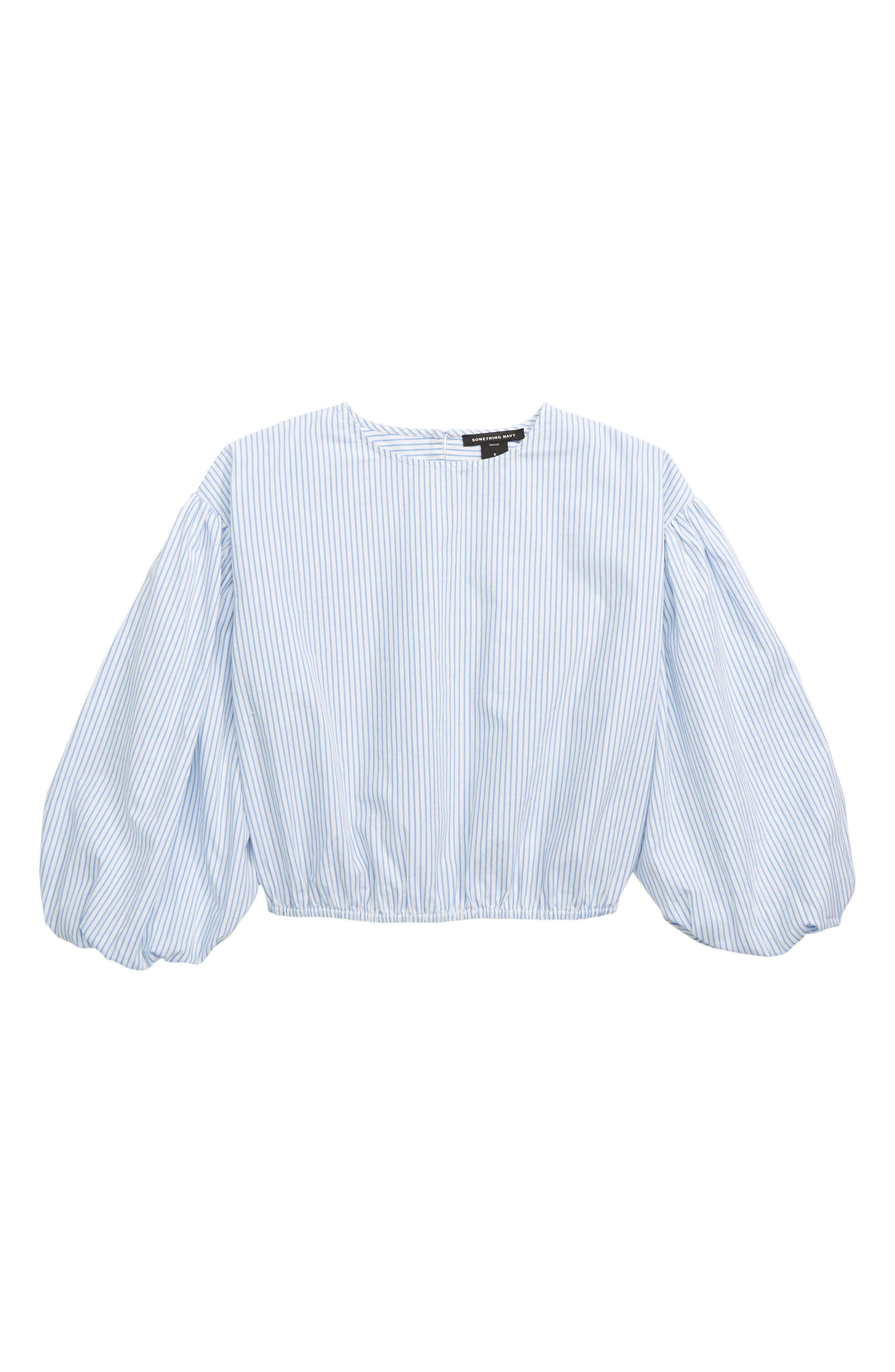 SOMETHING NAVY Bubble Sleeve Top, Main, color, WHITE- BLUE STRIPE