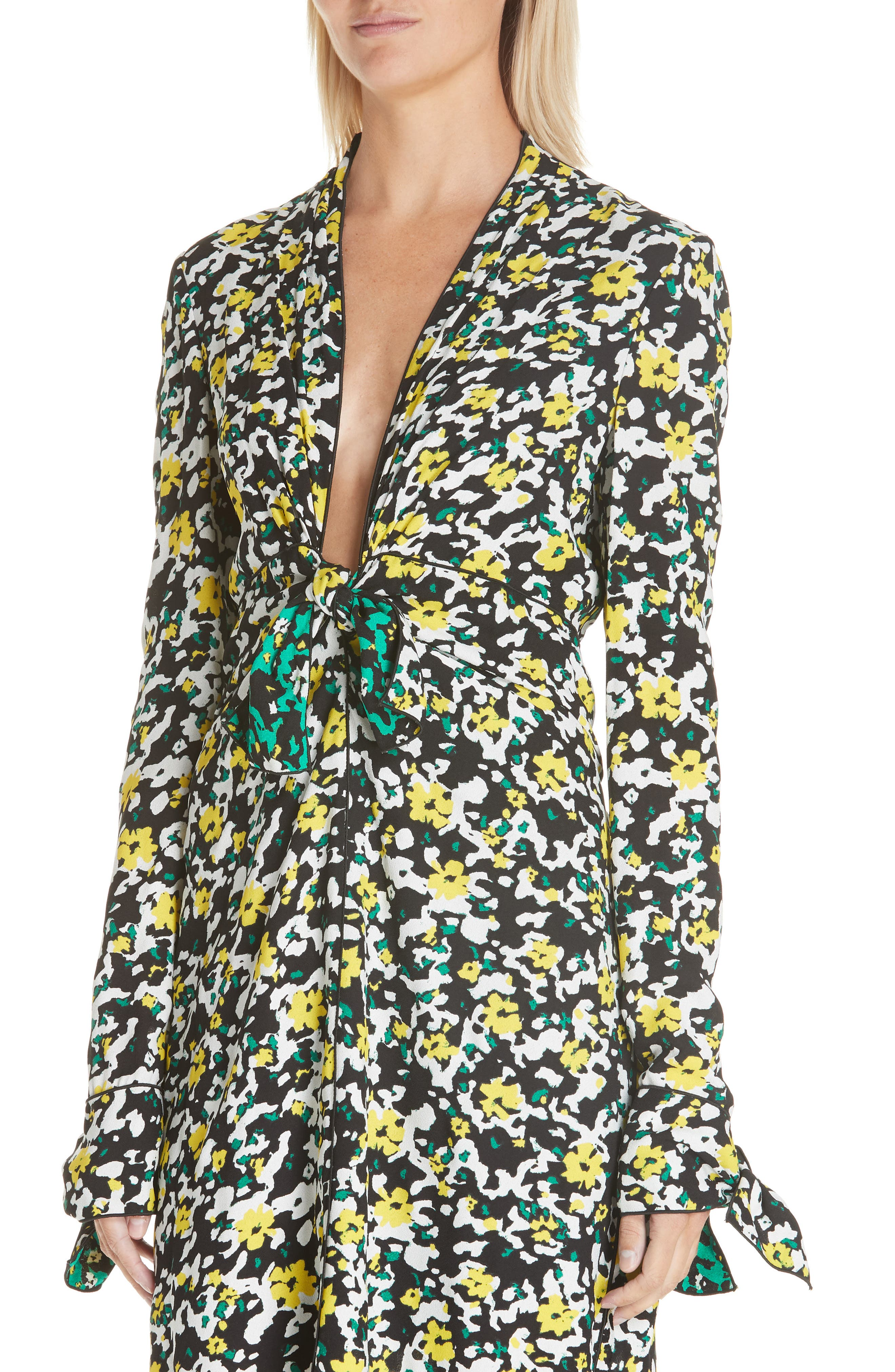 PROENZA SCHOULER, Floral Print Knotted Midi Dress, Alternate thumbnail 5, color, WHITE WILDFLOWER