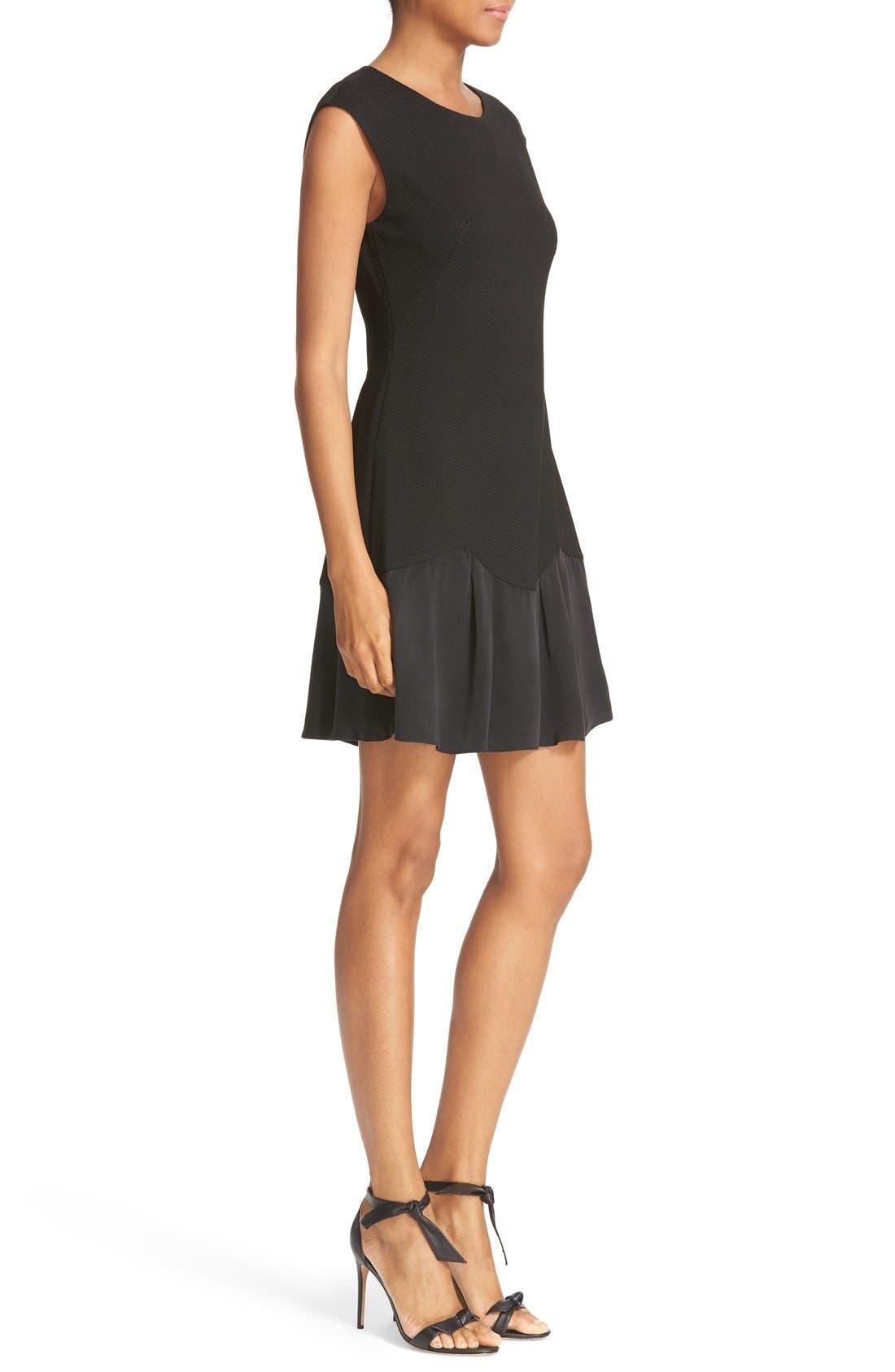 REBECCA TAYLOR, Stacy Drop Waist Dress, Alternate thumbnail 3, color, BLACK