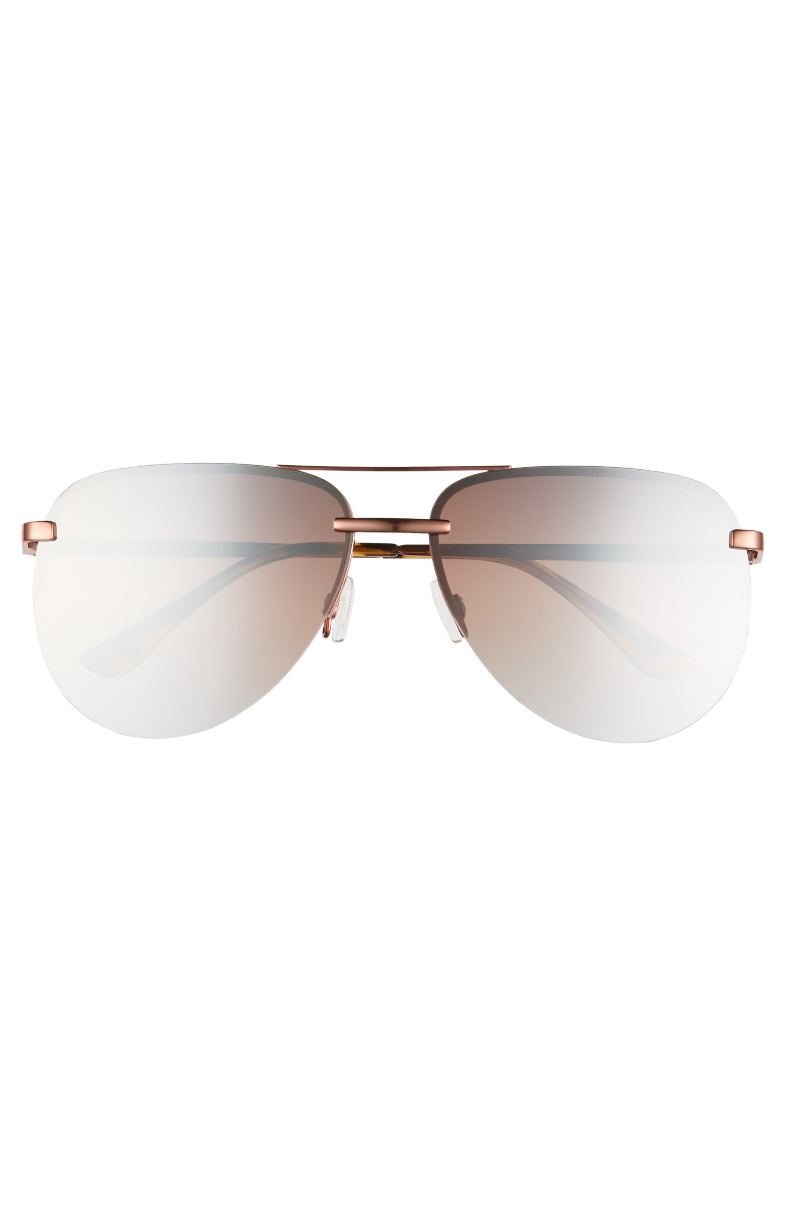 QUAY AUSTRALIA, x JLO The Playa 54mm Aviator Sunglasses, Alternate thumbnail 3, color, BRONZE/ BROWN